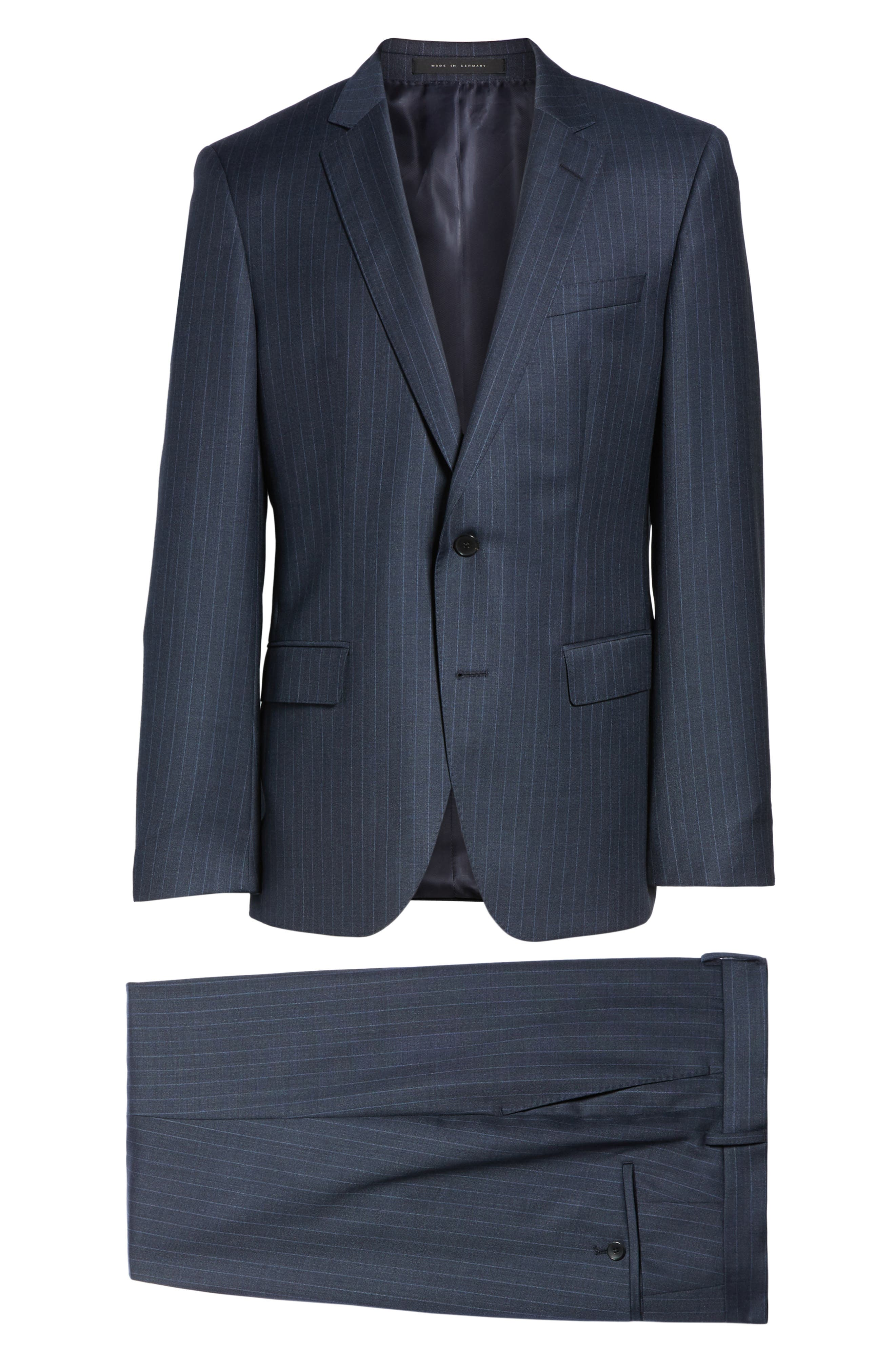 Huge/Genius Trim Fit Stripe Wool Suit,                             Alternate thumbnail 8, color,                             410