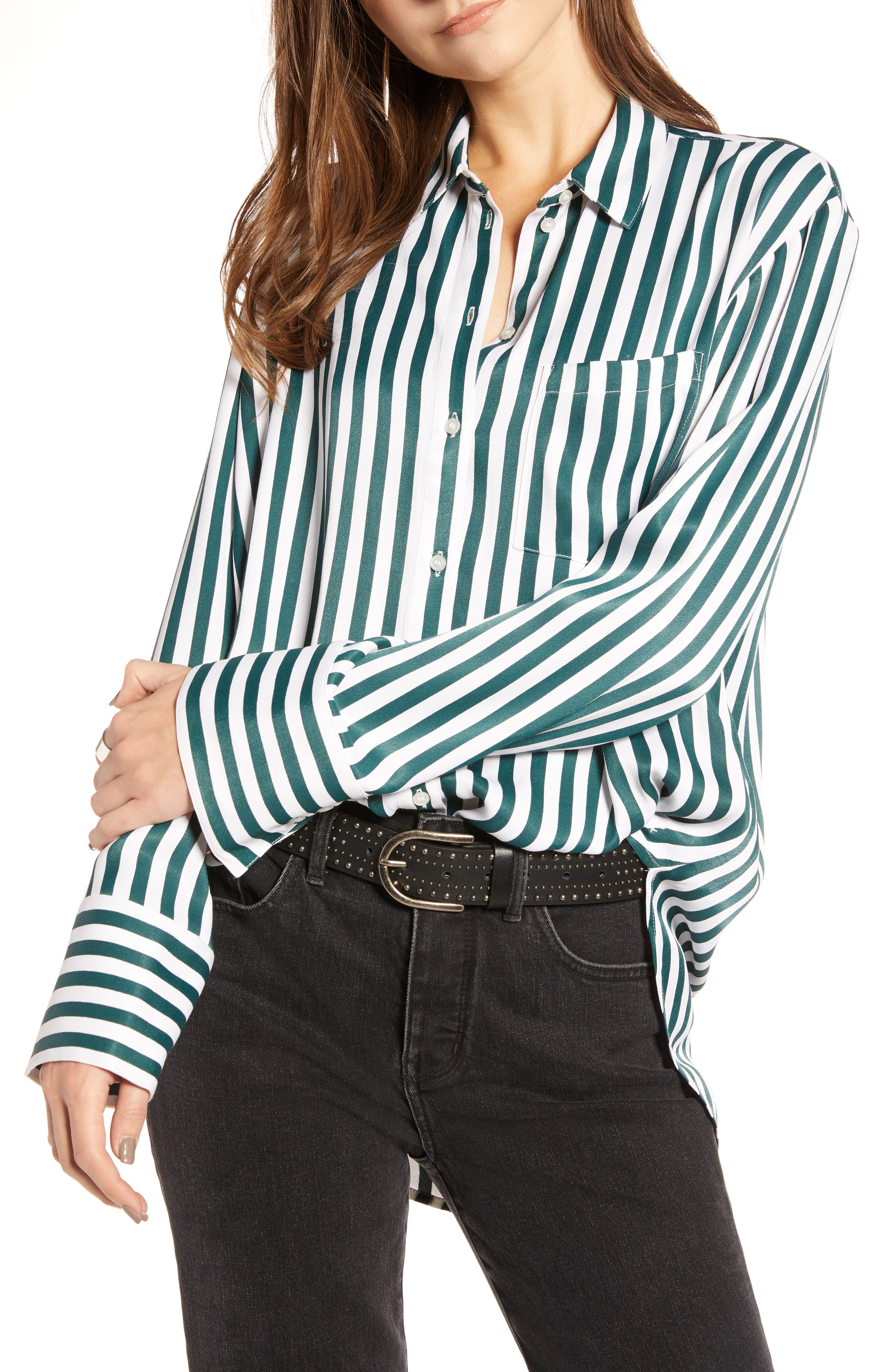 Striped Boyfriend Shirt,                         Main,                         color, GREEN BUG WIDE STRIPE