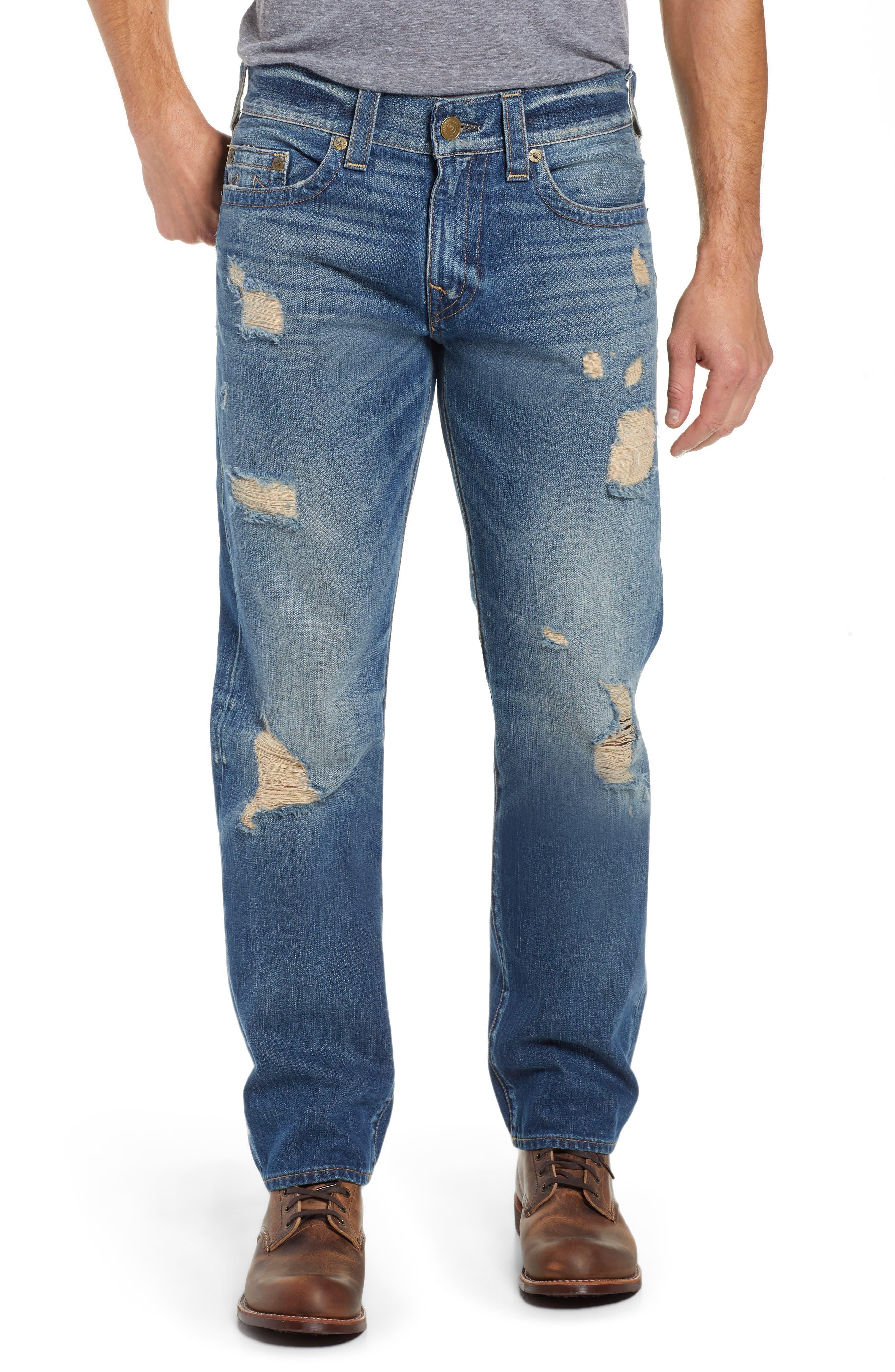 TRUE RELIGION BRAND JEANS,                             Geno Straight Leg Jeans,                             Main thumbnail 1, color,                             WORN REBEL