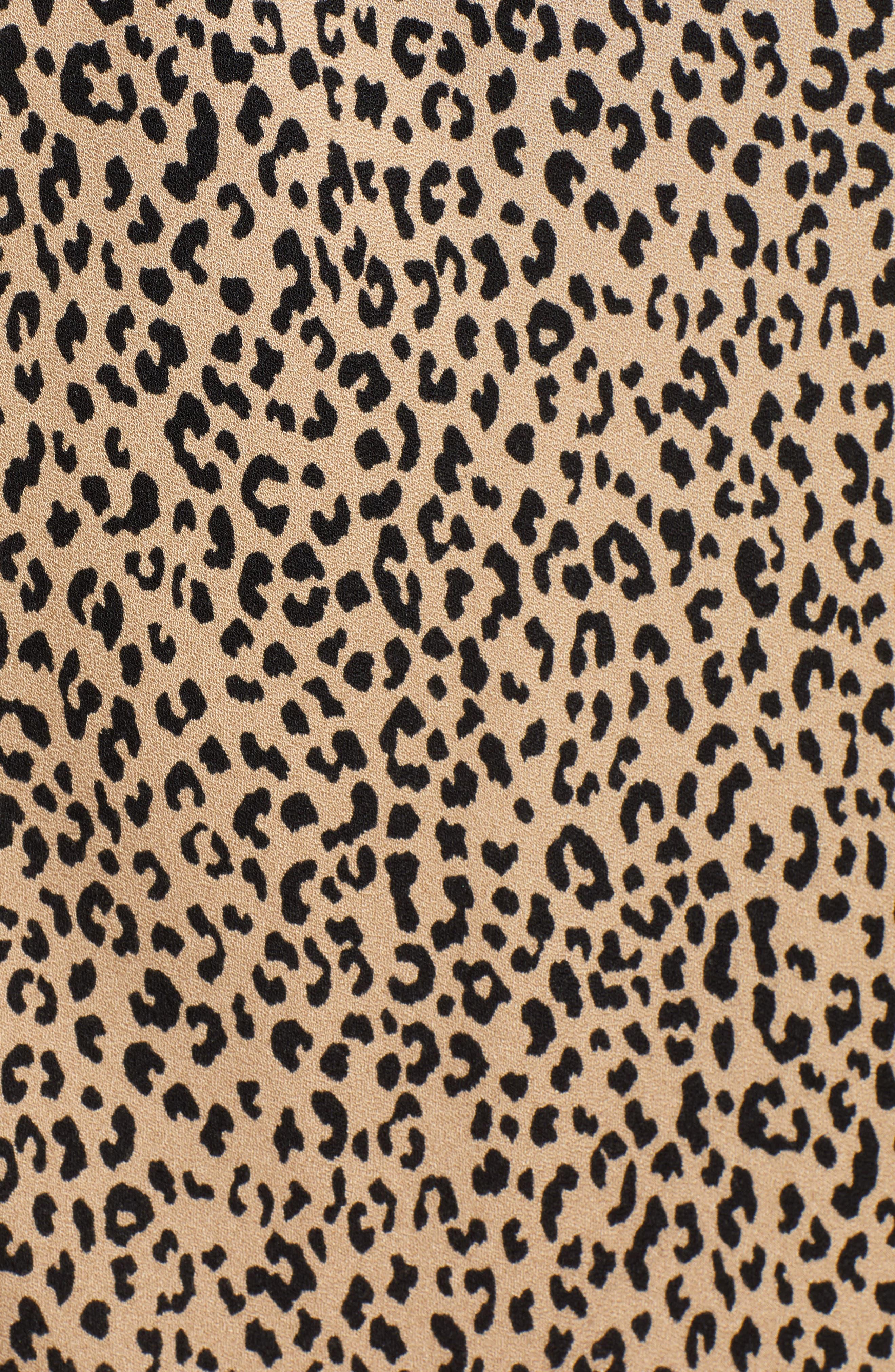 LOVE, FIRE,                             Leopard Midi Skirt,                             Alternate thumbnail 5, color,                             LEOPARD