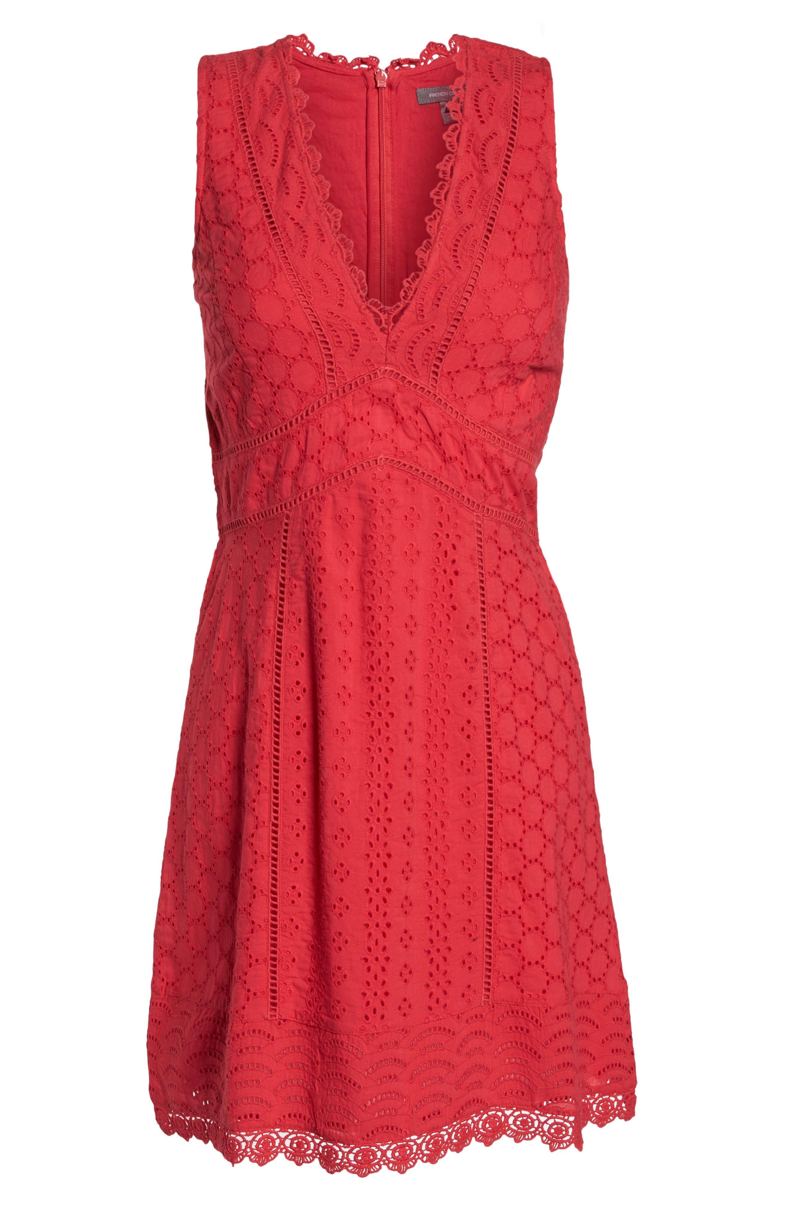 Zahara Eyelet & Lace A-Line Dress,                             Alternate thumbnail 7, color,                             WATERMELON
