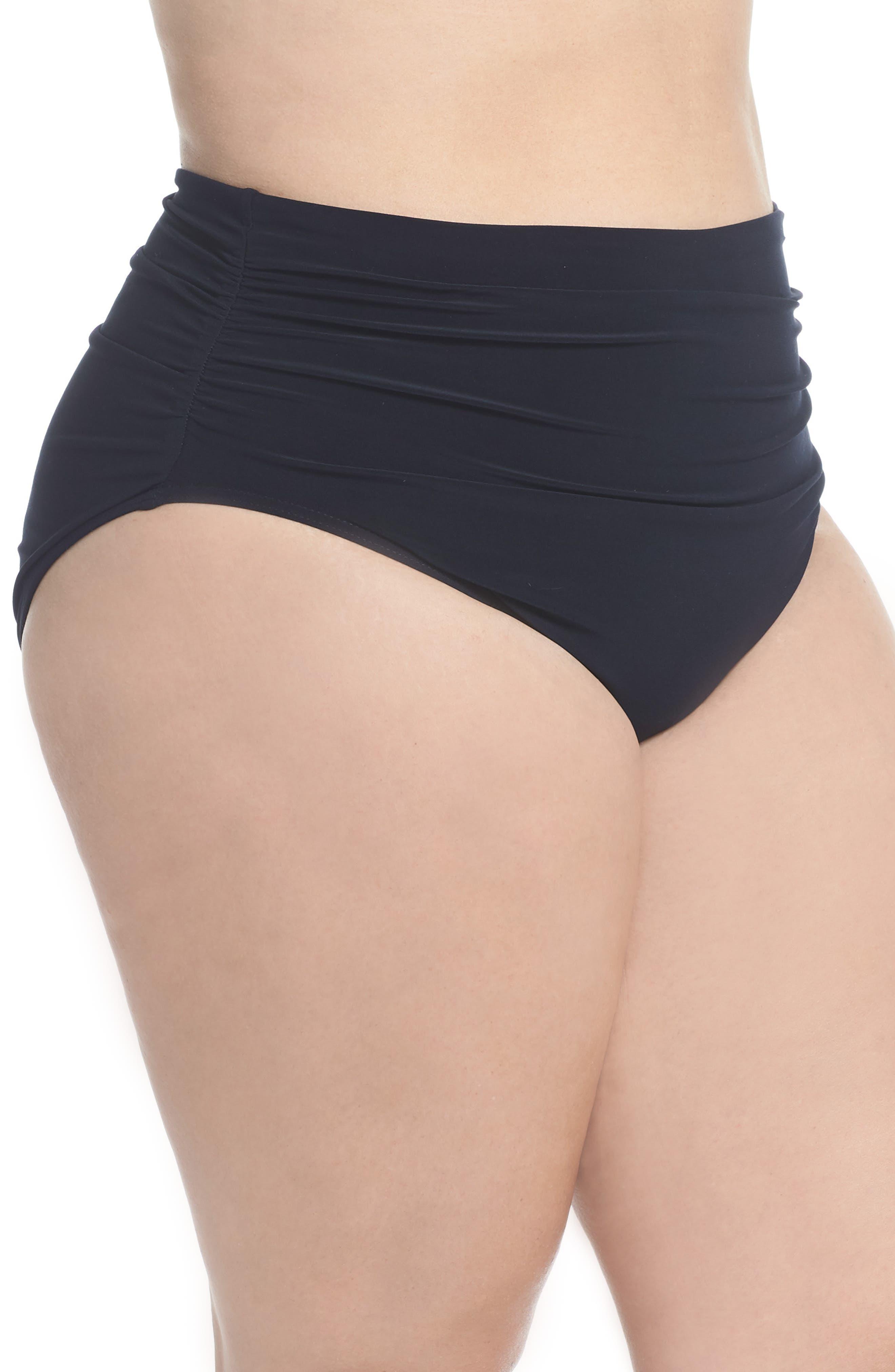 Ruched Bikini Bottoms,                             Alternate thumbnail 3, color,                             BLACK