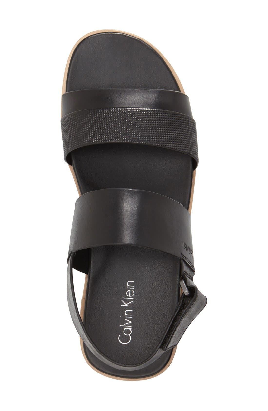 'Dex' Embossed Leather Sandal,                             Alternate thumbnail 4, color,                             001