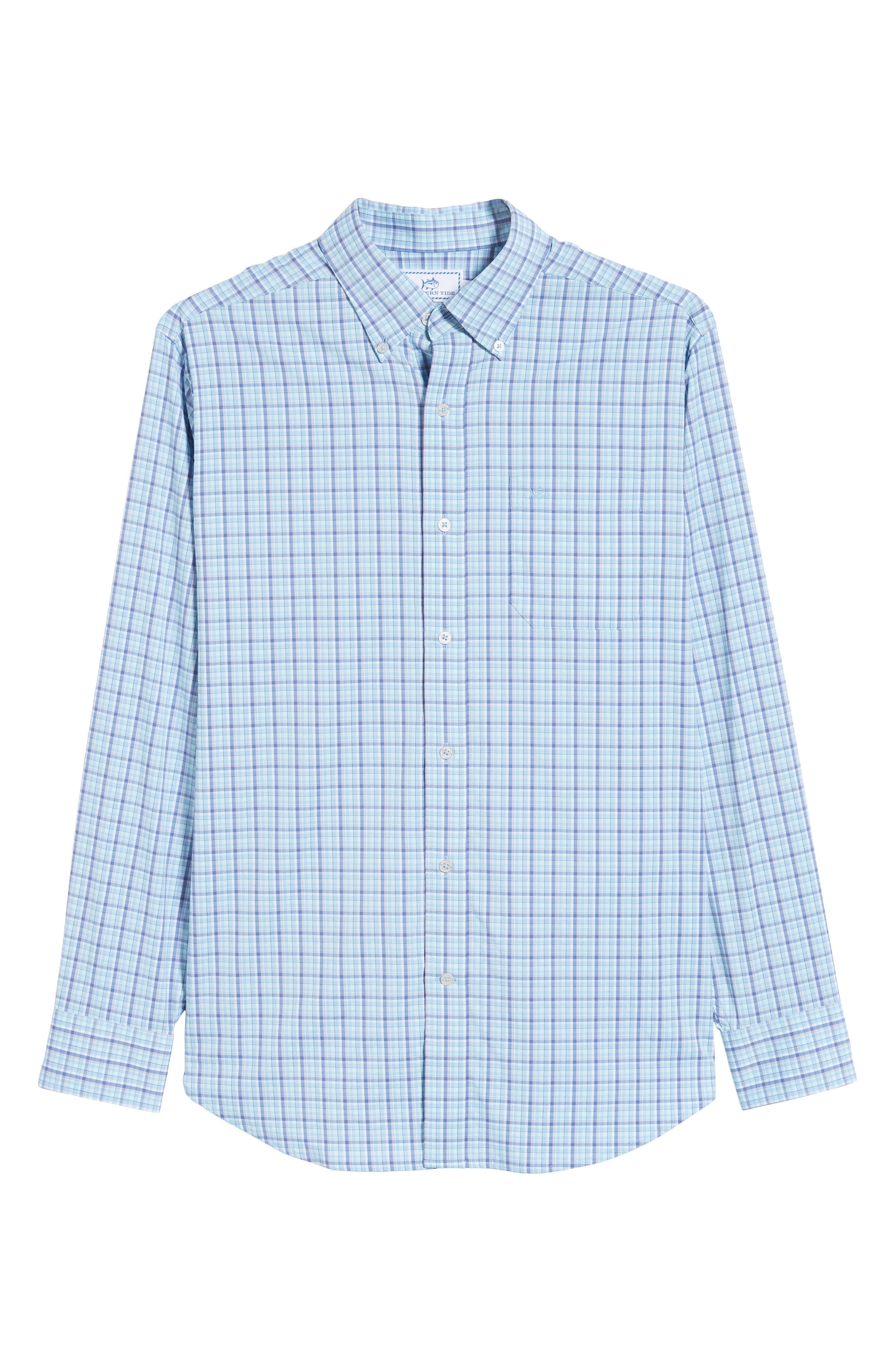 Staycation Intercoastal Regular Fit Plaid Performance Sport Shirt,                             Alternate thumbnail 5, color,                             SKY BLUE