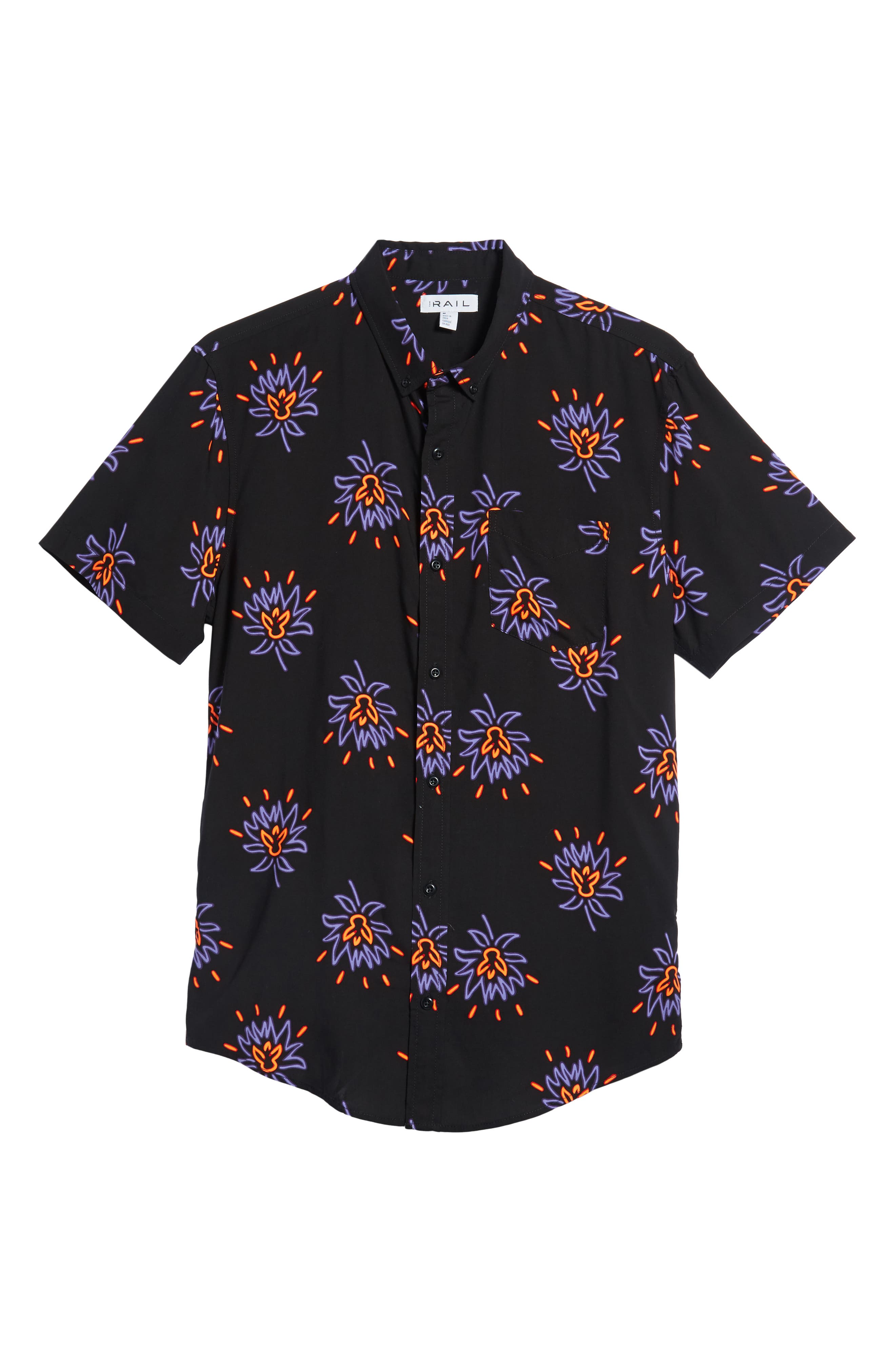 Neon Flower Print Woven Shirt,                             Alternate thumbnail 6, color,                             BLACK PURPLE NEON FLORAL