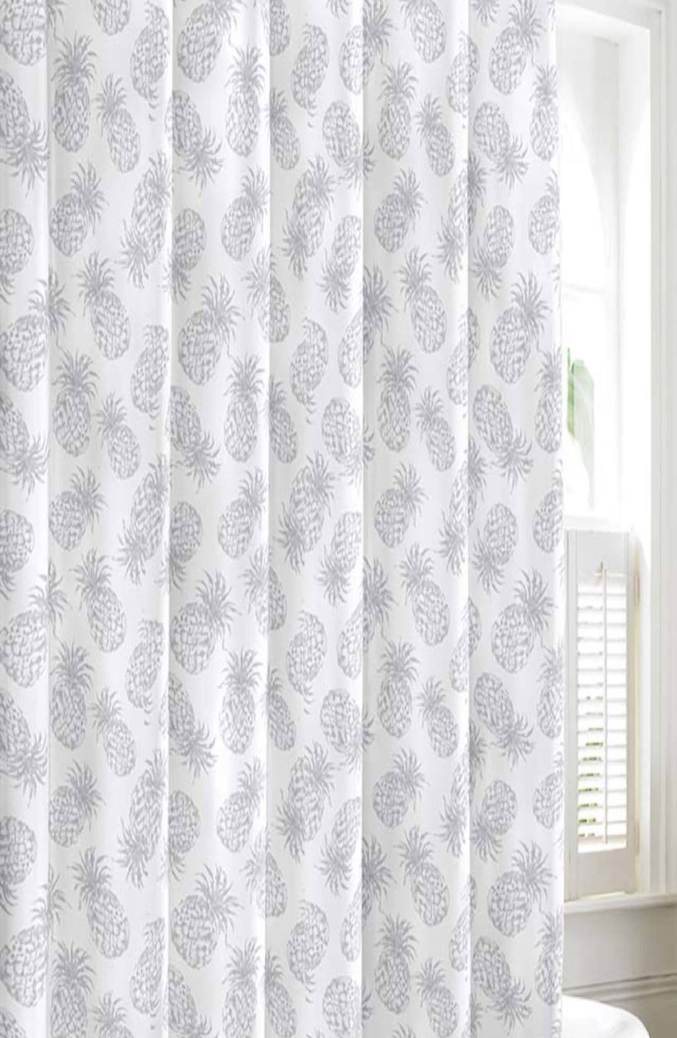 Pineapple Shower Curtain,                             Main thumbnail 1, color,                             PASTEL GREY