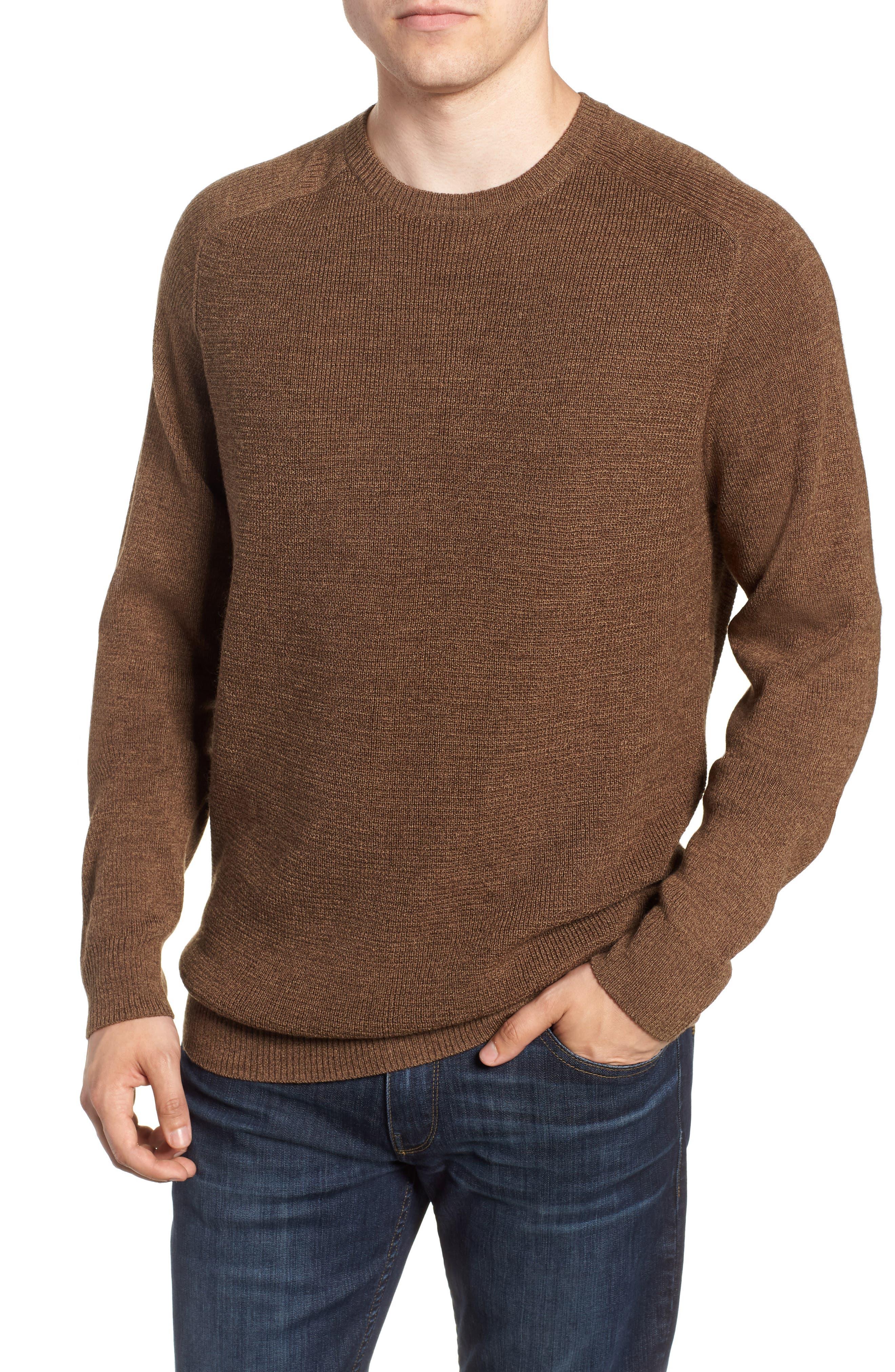 Crewneck Wool Blend Sweater,                             Main thumbnail 1, color,                             BROWN MAJOR