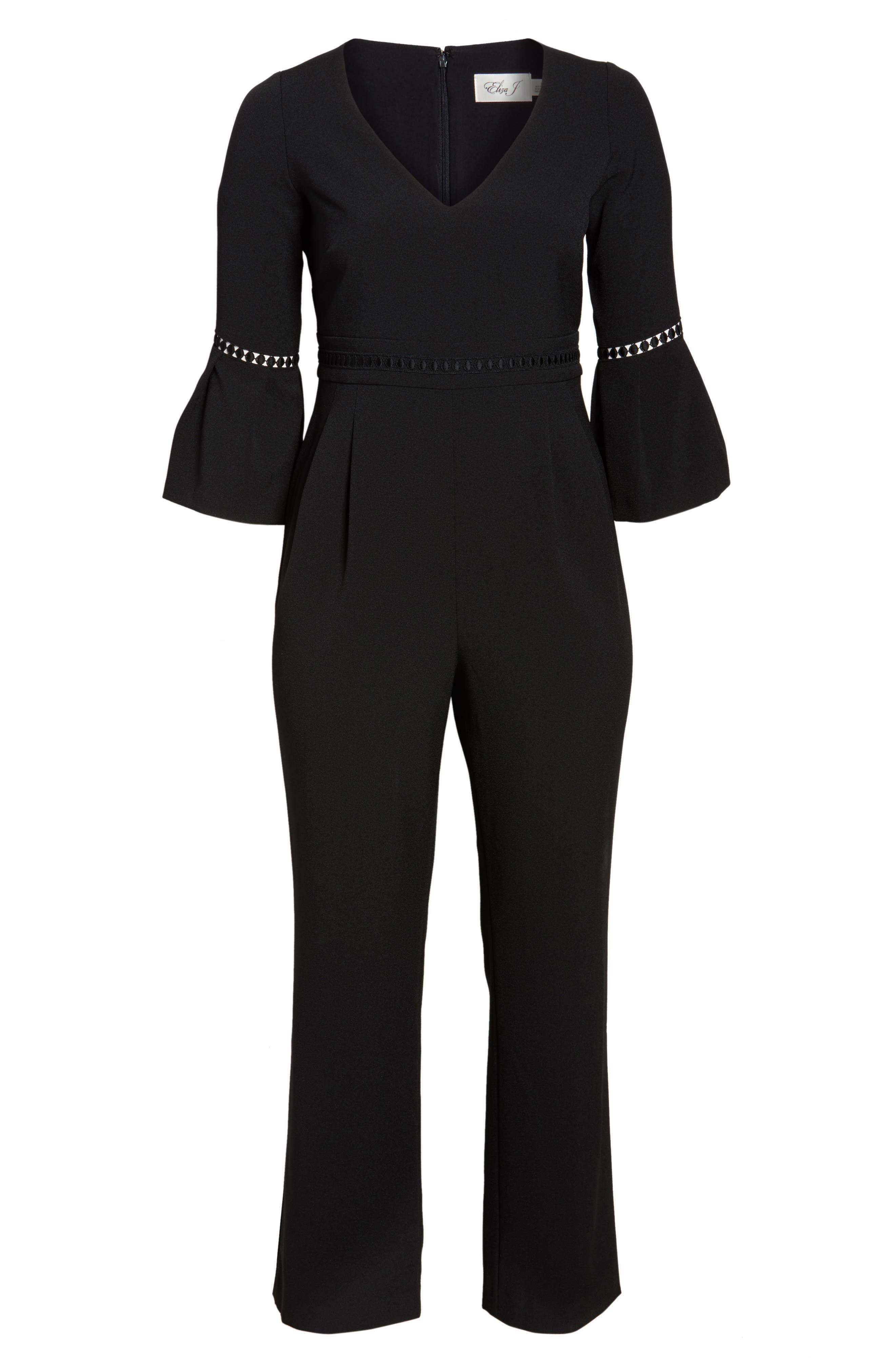 Bell Sleeve Jumpsuit,                             Alternate thumbnail 6, color,