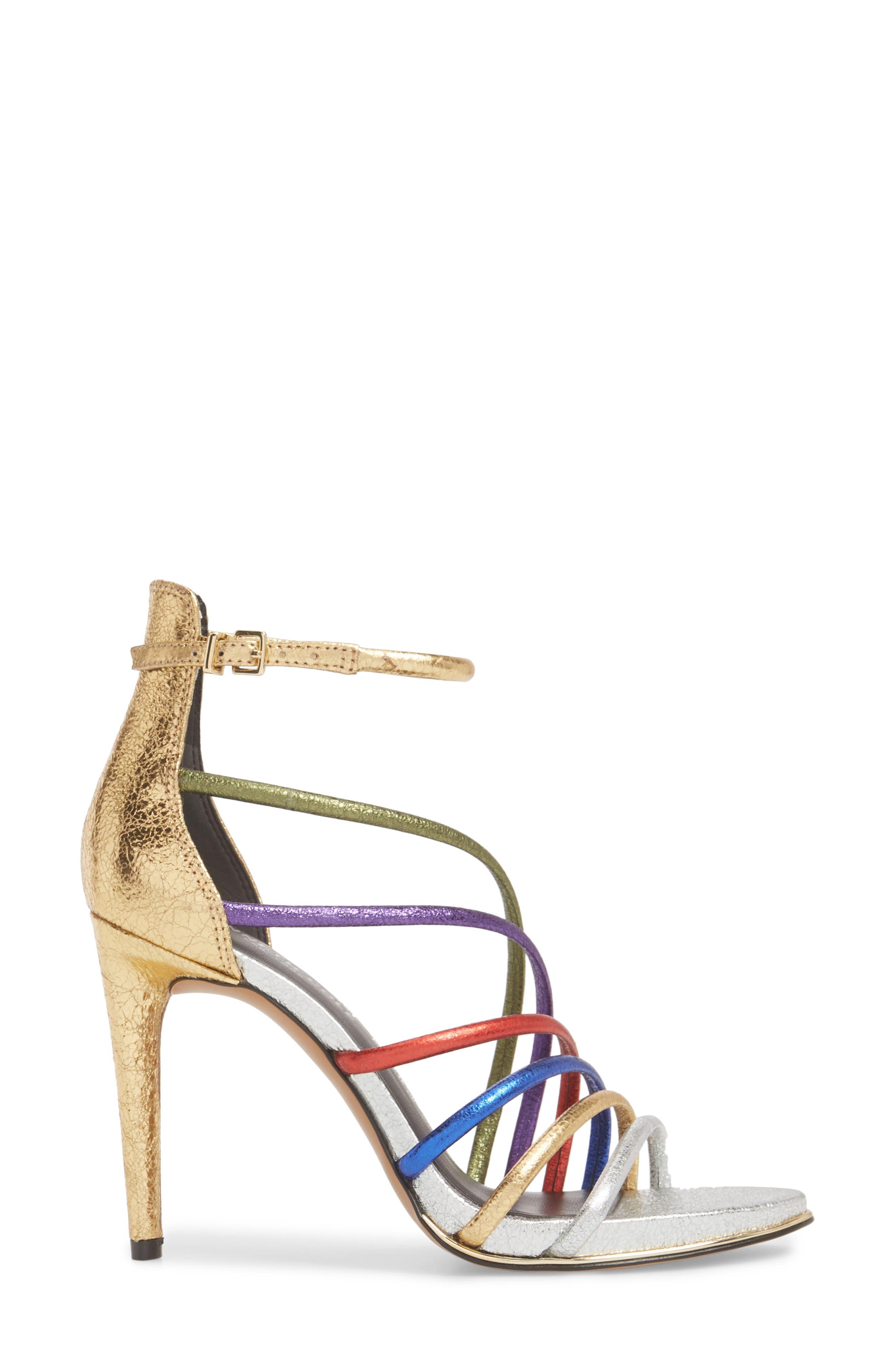 Barletta Asymmetrical Strappy Sandal,                             Alternate thumbnail 3, color,                             MULTI LEATHER