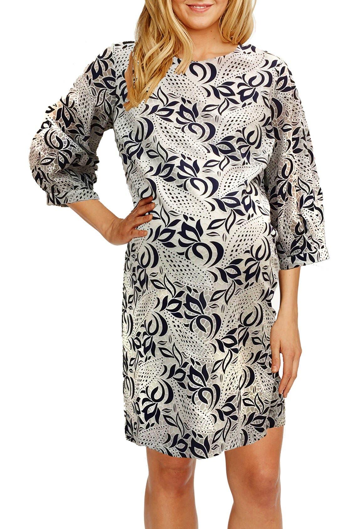'Kelly' Lace Maternity Dress,                             Main thumbnail 1, color,                             NAVY/ WHITE