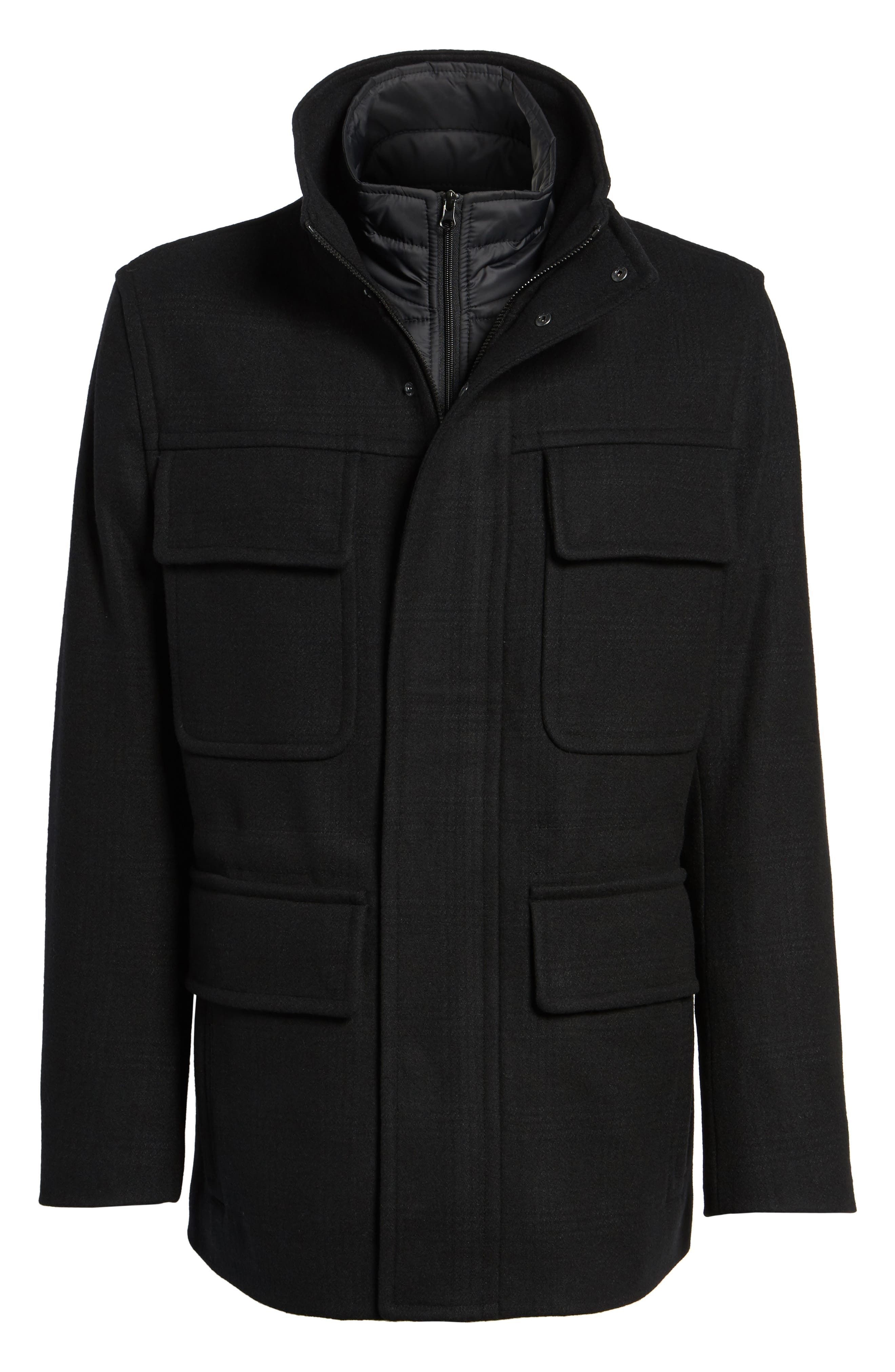MARC NEW YORK,                             Shadow Plaid Wool Blend Jacket with Detachable Insert,                             Alternate thumbnail 5, color,                             001