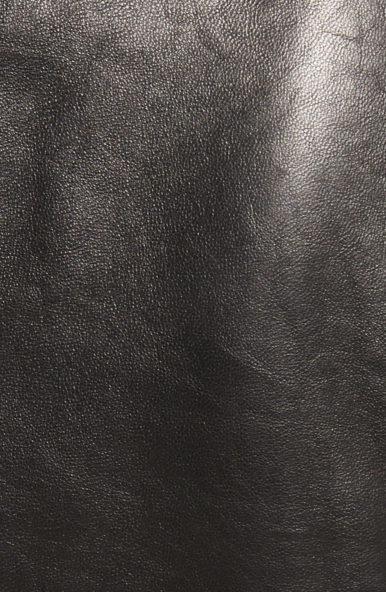 Studded Leather Jacket,                             Alternate thumbnail 5, color,                             001