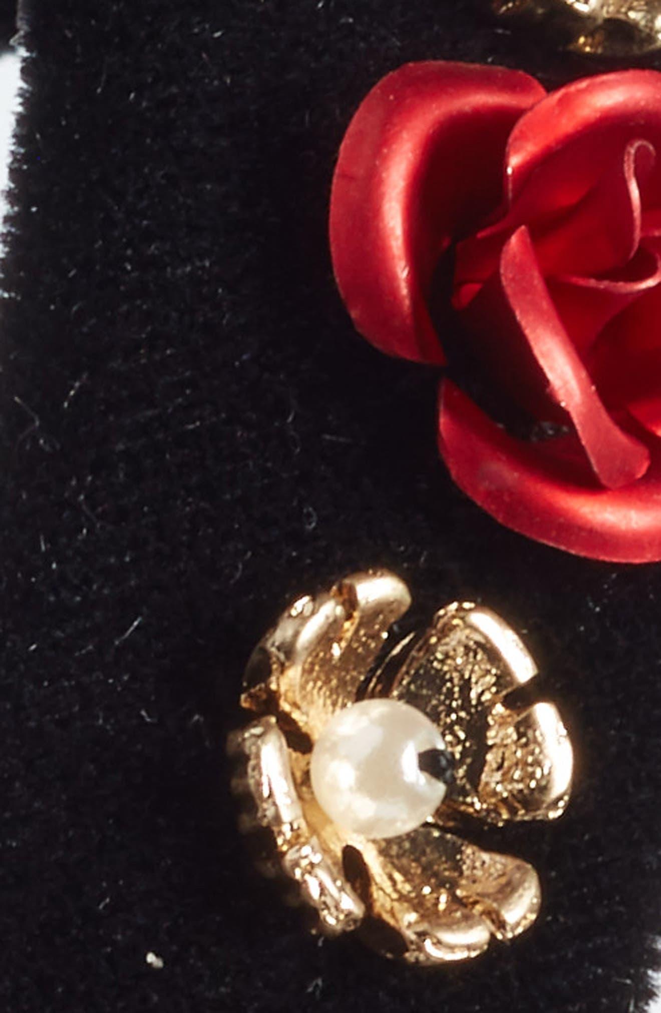 Rose Embellished Velvet Headband,                             Alternate thumbnail 2, color,                             001