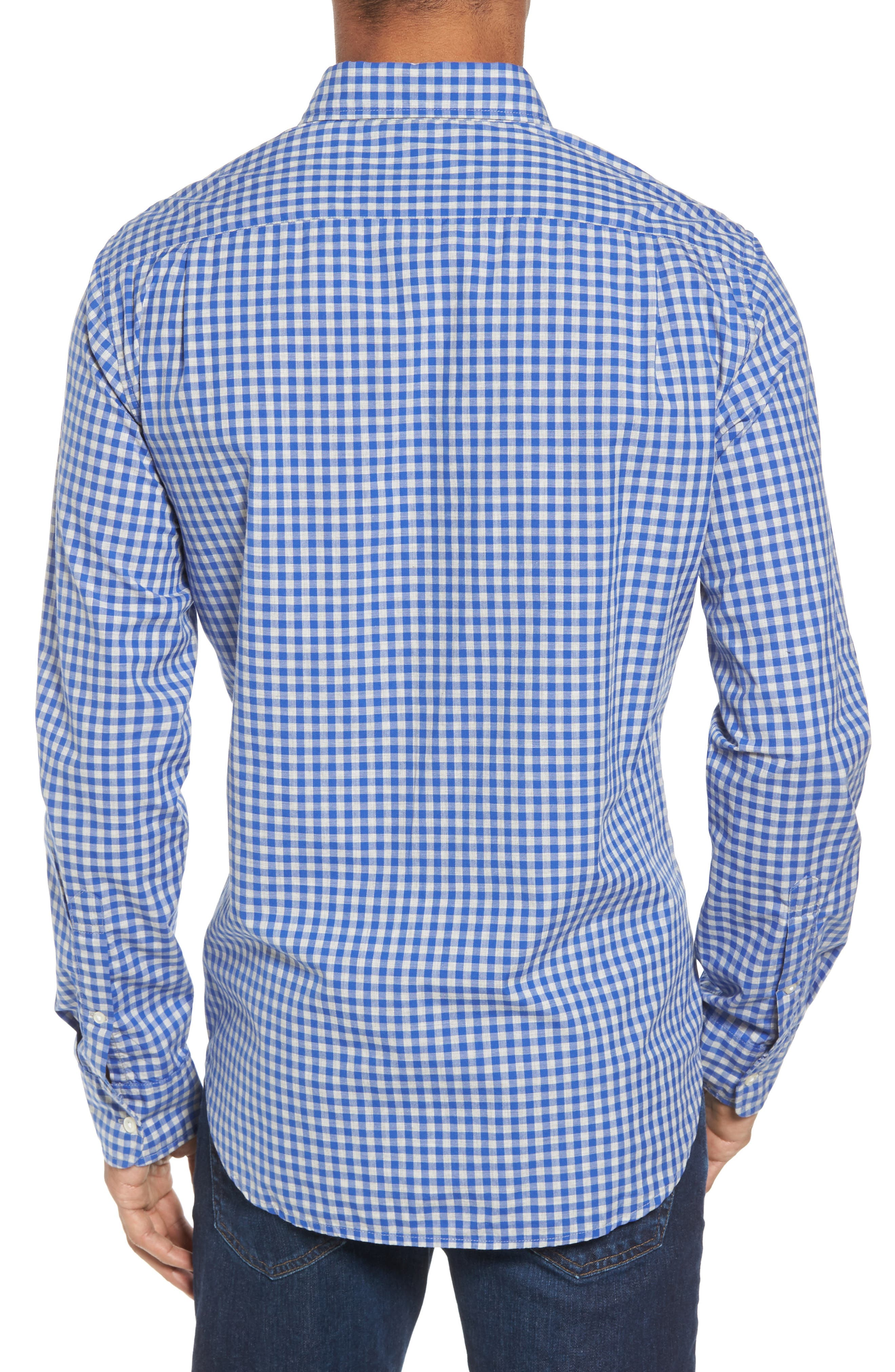 Slim Fit Washed Check Sport Shirt,                             Alternate thumbnail 2, color,