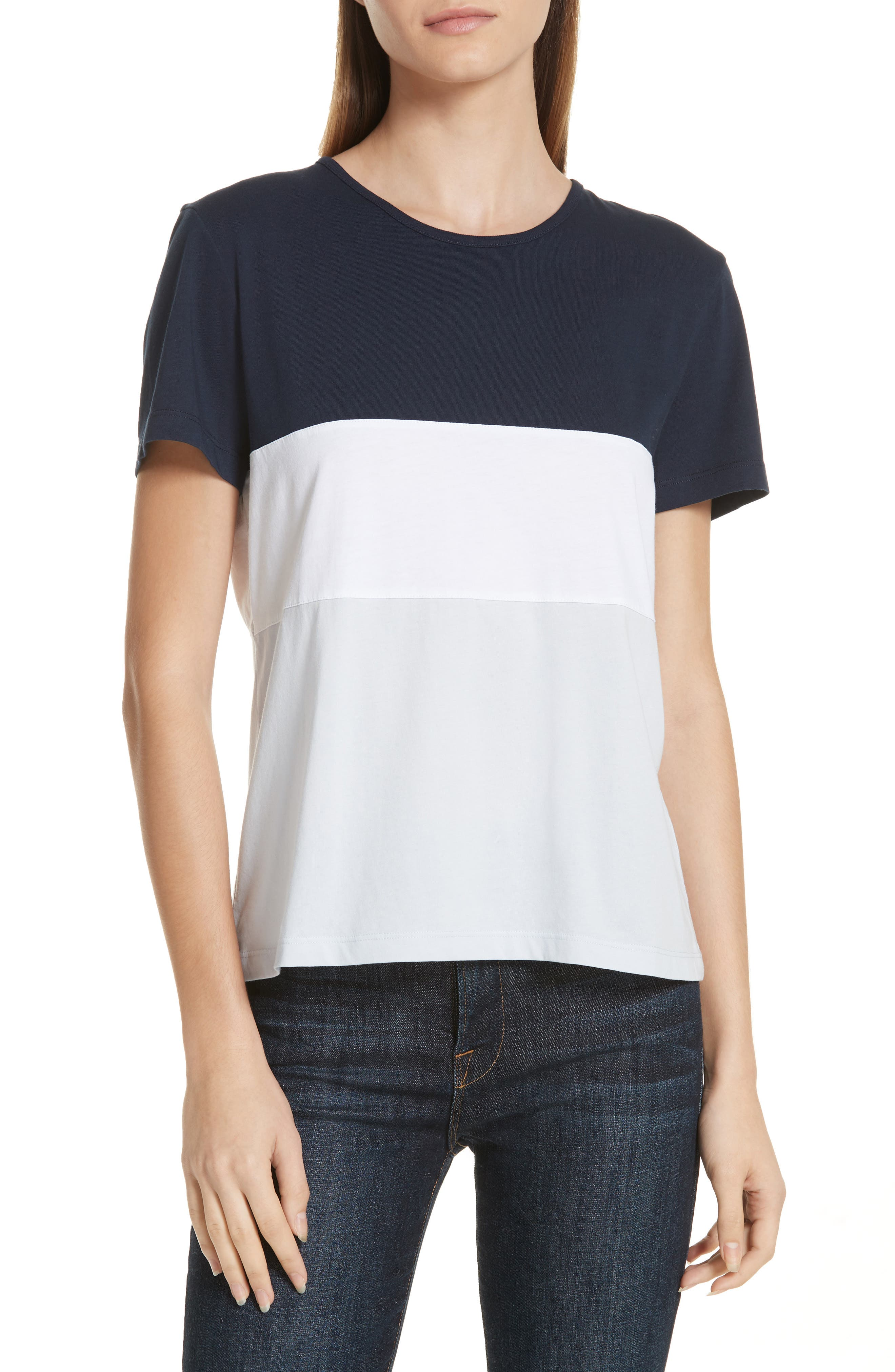 Colorblock Tee,                         Main,                         color, NAVY WHITE BLUE COLOR BLOCK