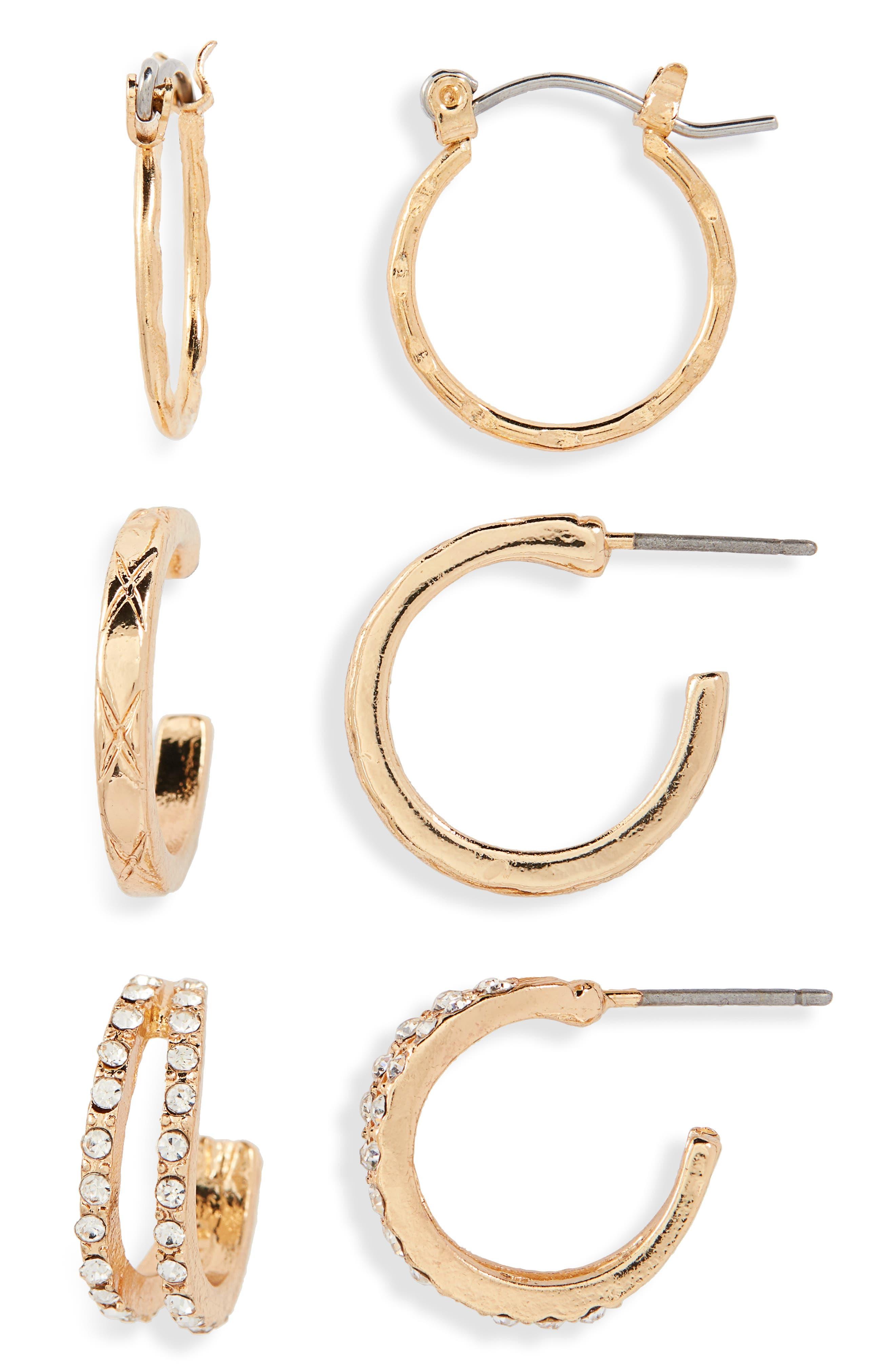3-Pack Mini Hoop Earrings,                             Main thumbnail 1, color,                             GOLD/ CRYSTAL