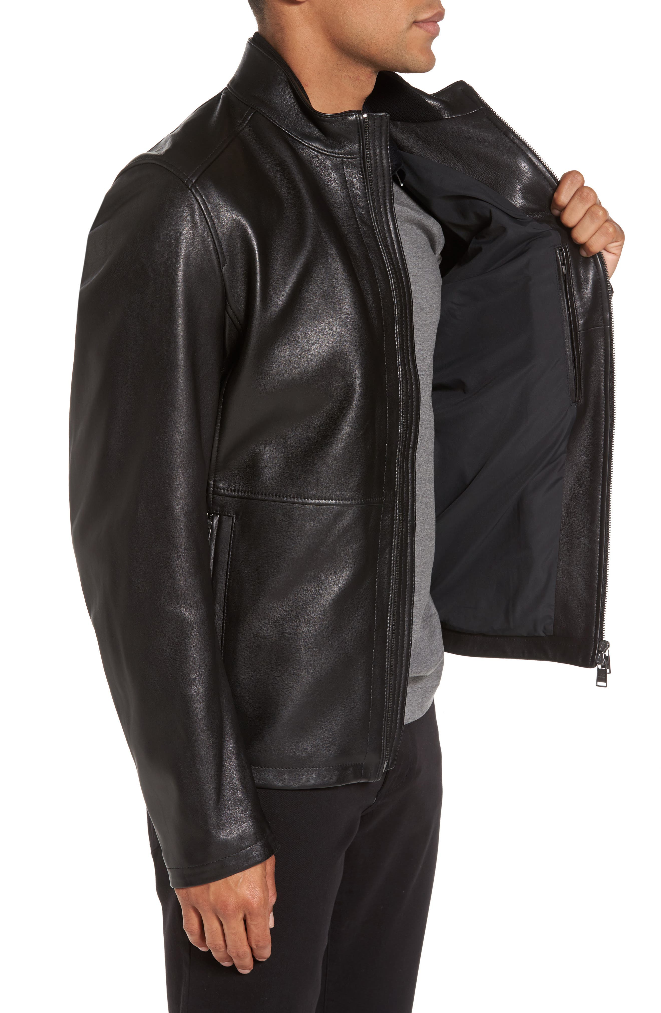 Collar Inset Leather Jacket,                             Alternate thumbnail 3, color,                             001