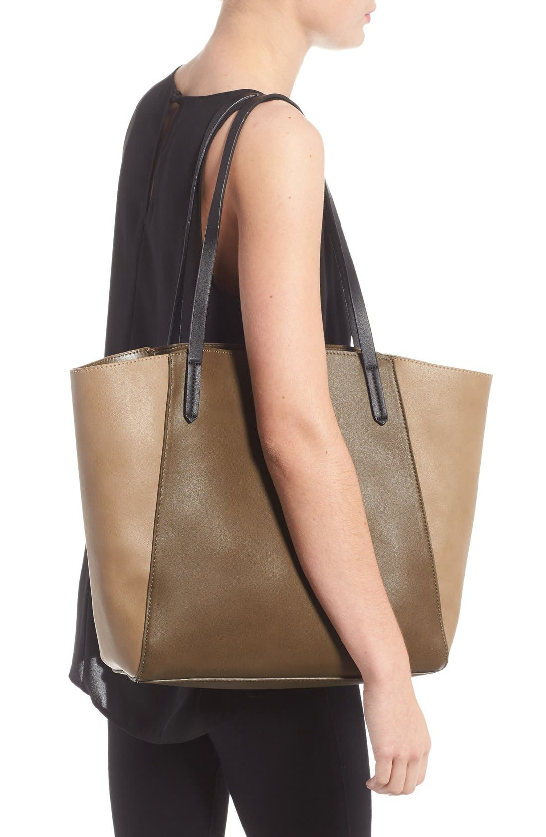 Colorblock Faux Leather Tote,                             Alternate thumbnail 12, color,