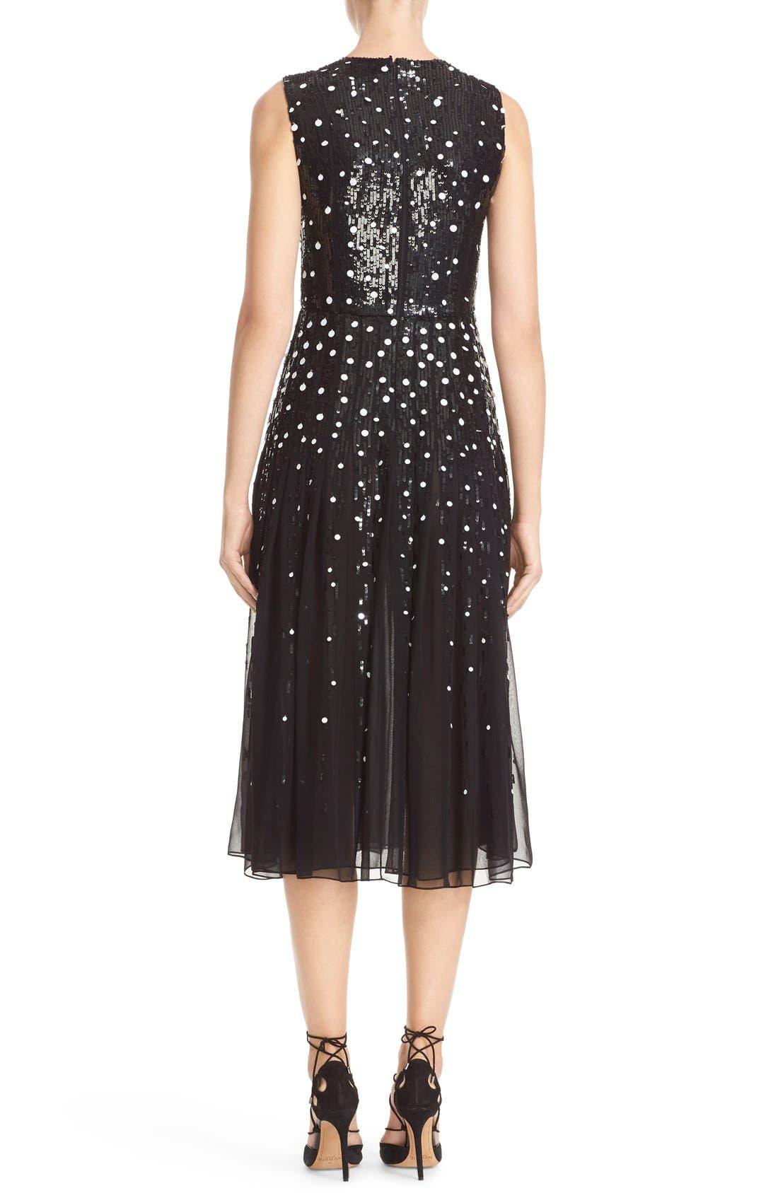 Dégradé Sequin Silk Midi Dress,                             Alternate thumbnail 3, color,                             BLACK/ WHITE