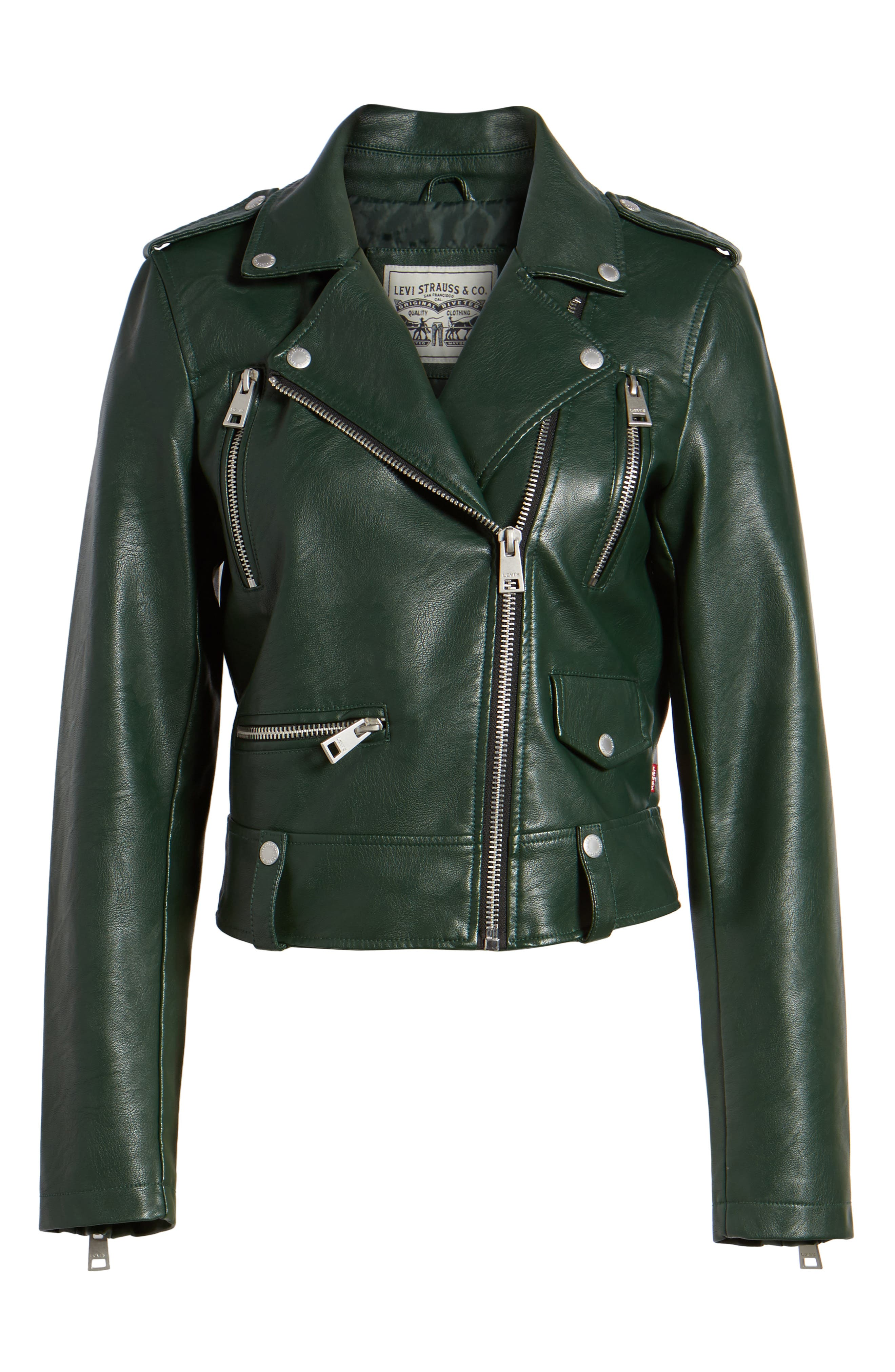 Faux Leather Moto Jacket,                             Alternate thumbnail 6, color,                             HUNTER GREEN