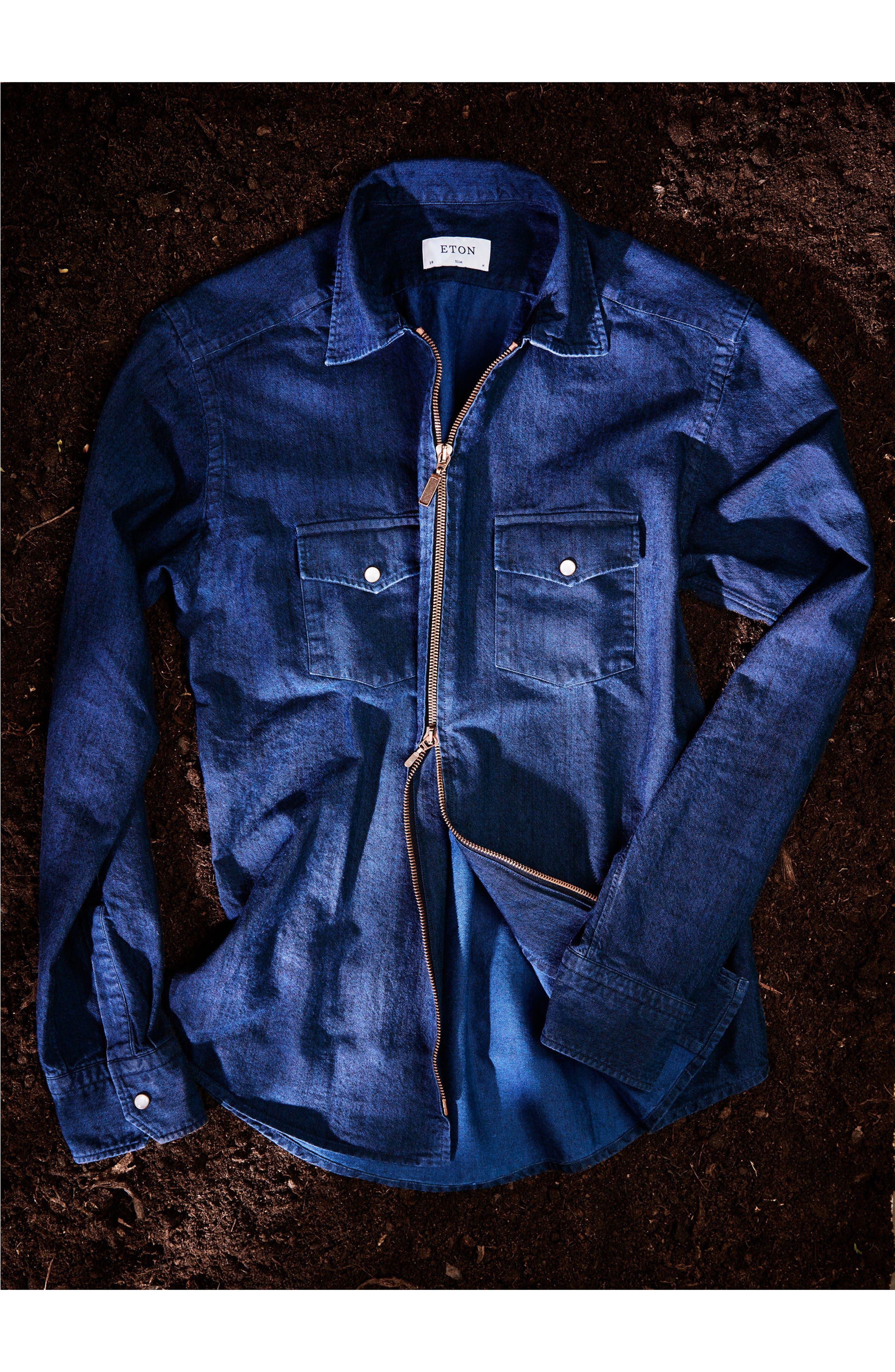 Slim Fit Chambray Zip Sport Shirt Jacket,                             Alternate thumbnail 9, color,                             400