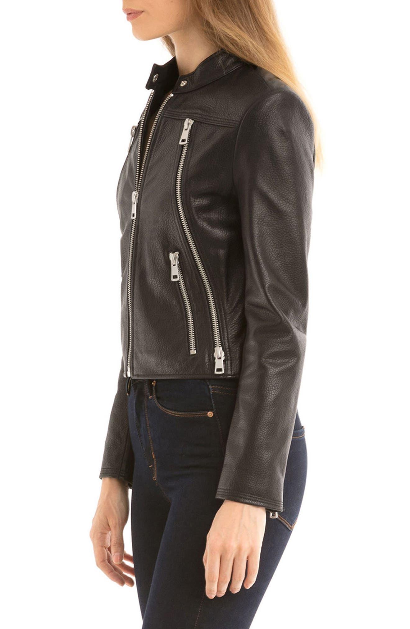 Bagatelle Textured Leather Jacket,                             Alternate thumbnail 3, color,                             001