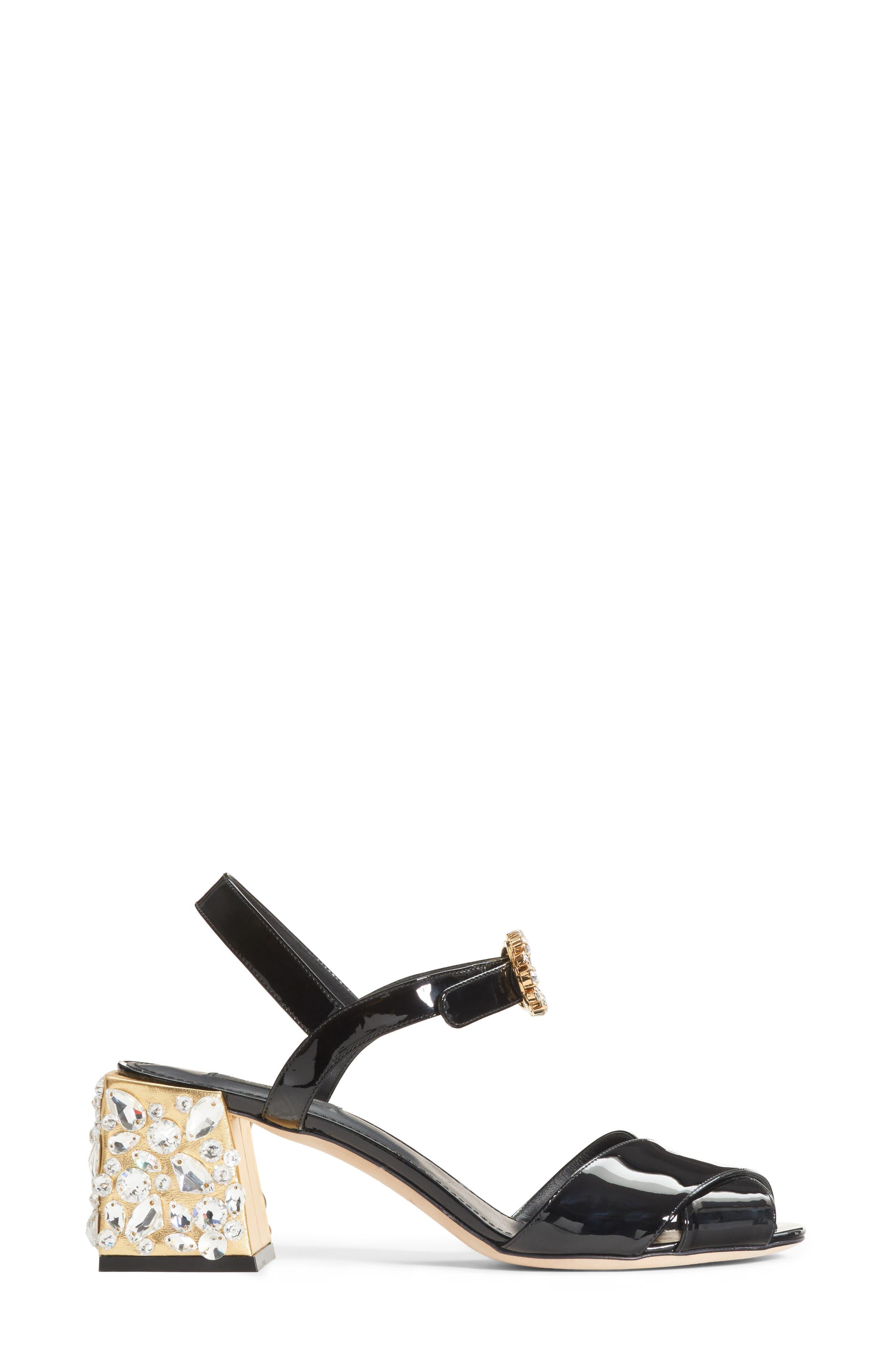 Crystal Embellished Sandal,                             Alternate thumbnail 3, color,                             002