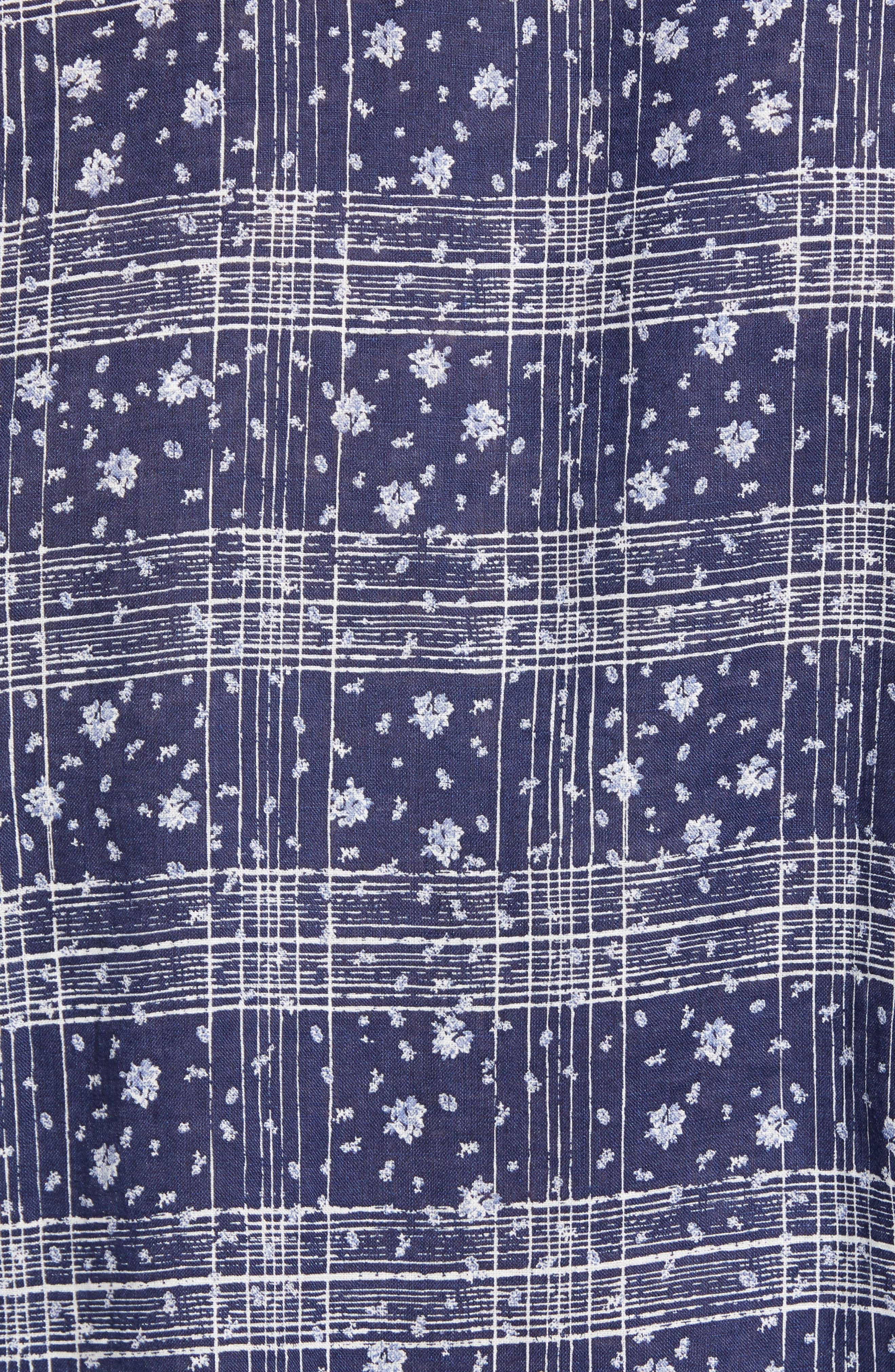 Gustavo Regular Fit Plaid Linen Sport Shirt,                             Alternate thumbnail 5, color,                             OCEAN