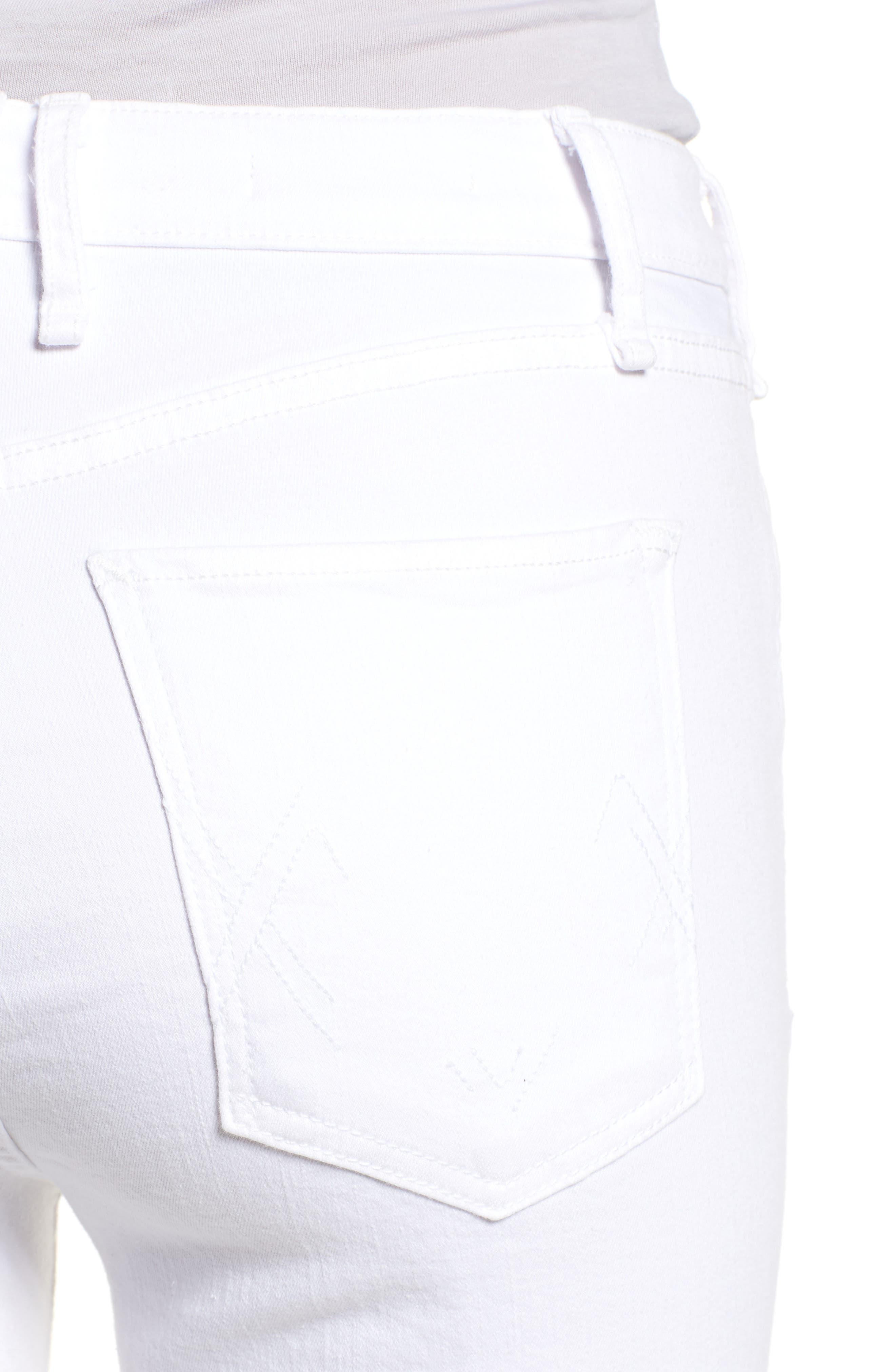 Split Hem High Waist Ankle Skinny Jeans,                             Alternate thumbnail 4, color,                             100