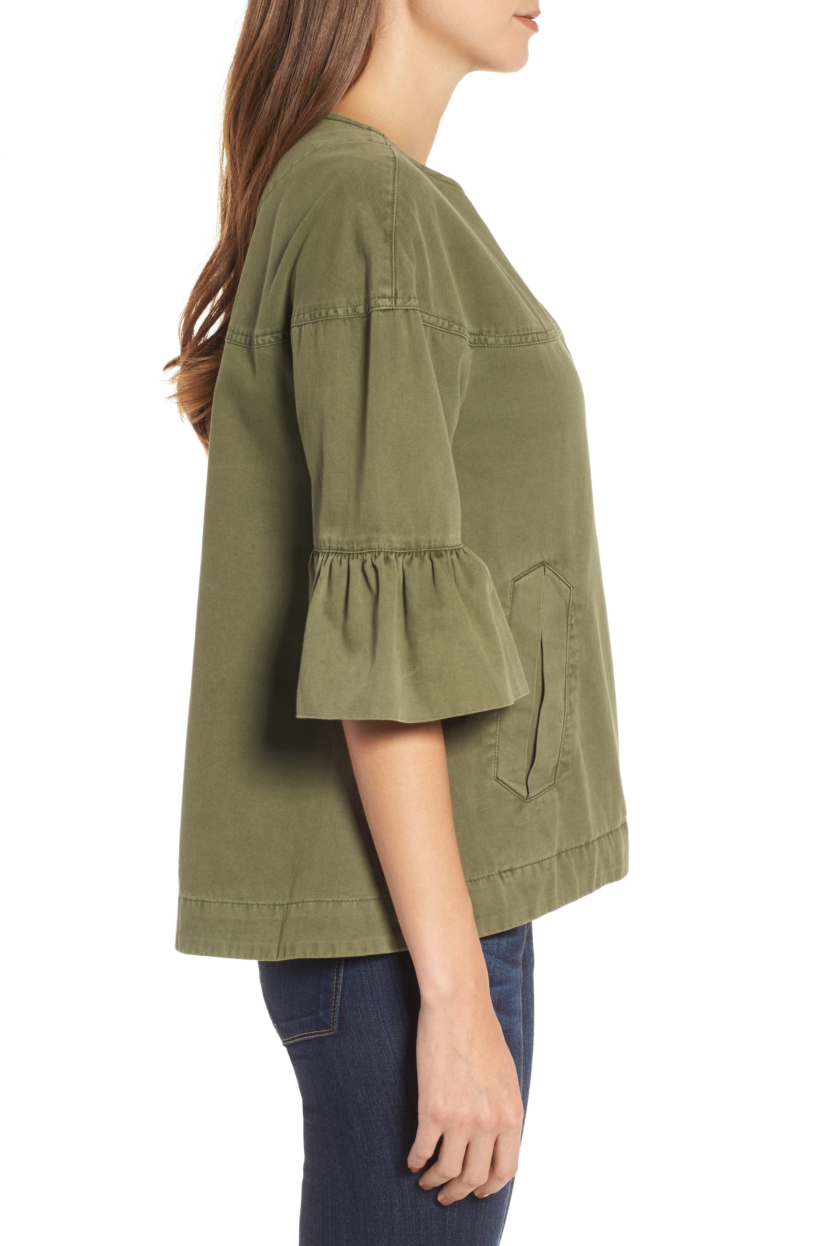 Scout Ruffle Sleeve Jacket,                             Alternate thumbnail 3, color,                             CADET