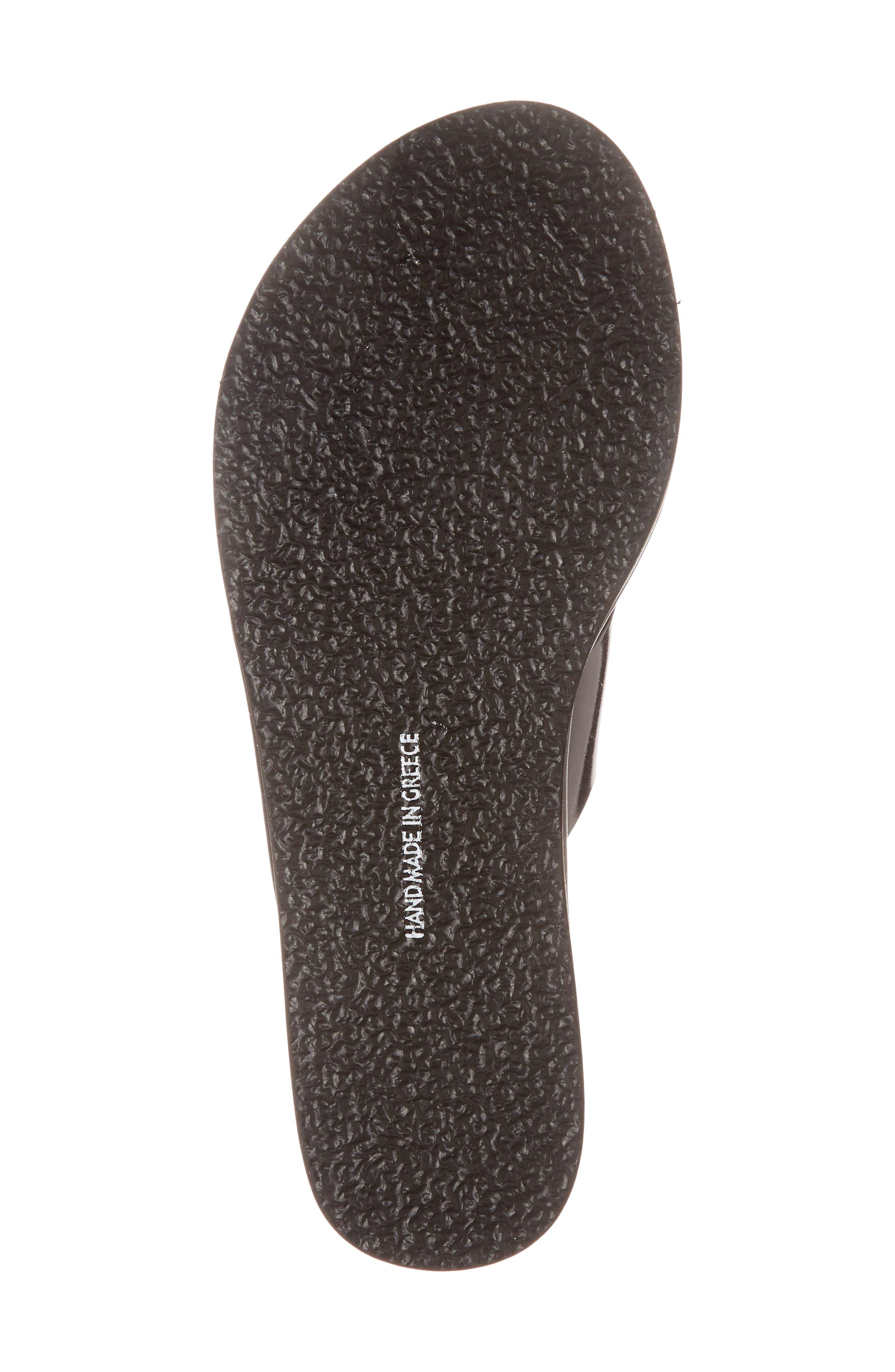 Thais Wedge Slide Sandal,                             Alternate thumbnail 6, color,                             BLACK
