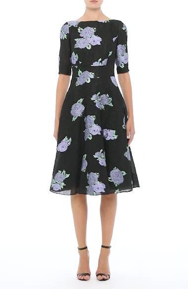Floral Matelassé Fit & Flare Dress, video thumbnail
