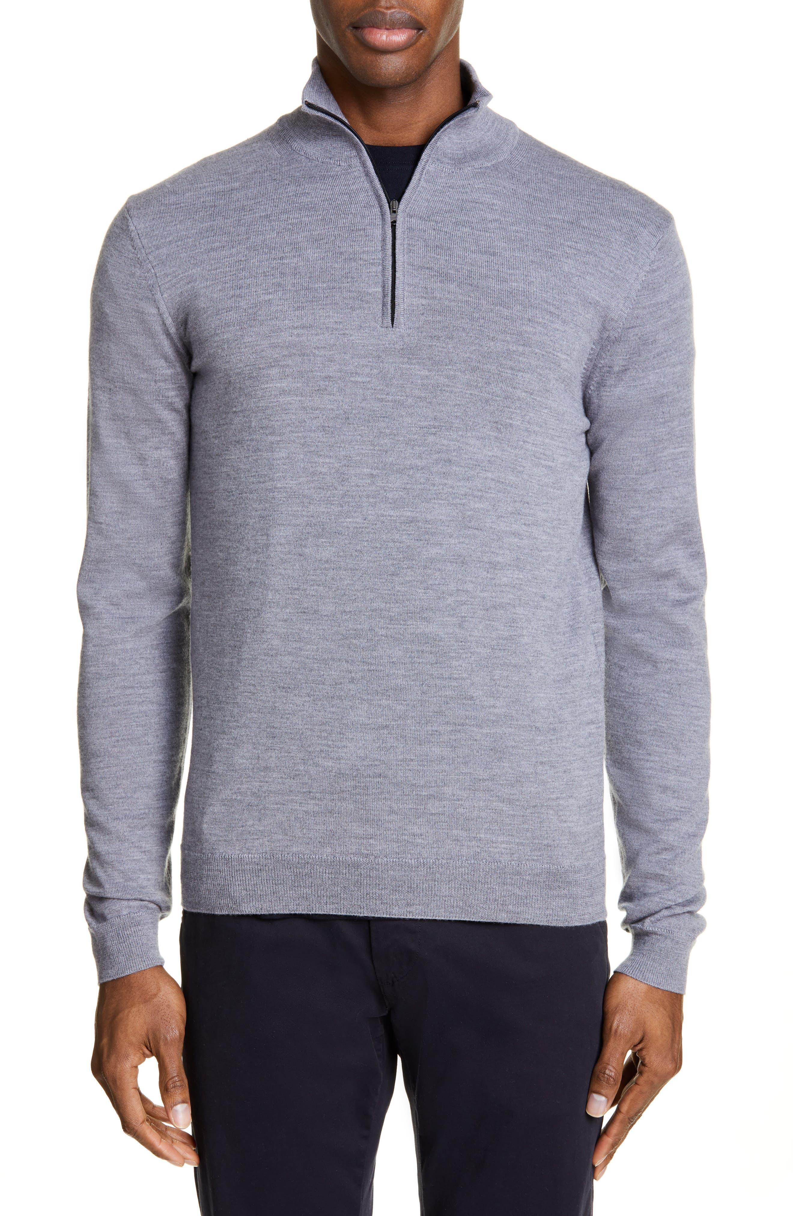 Norse Projects Fjord Half-Zip Merino Wool Sweater, Grey