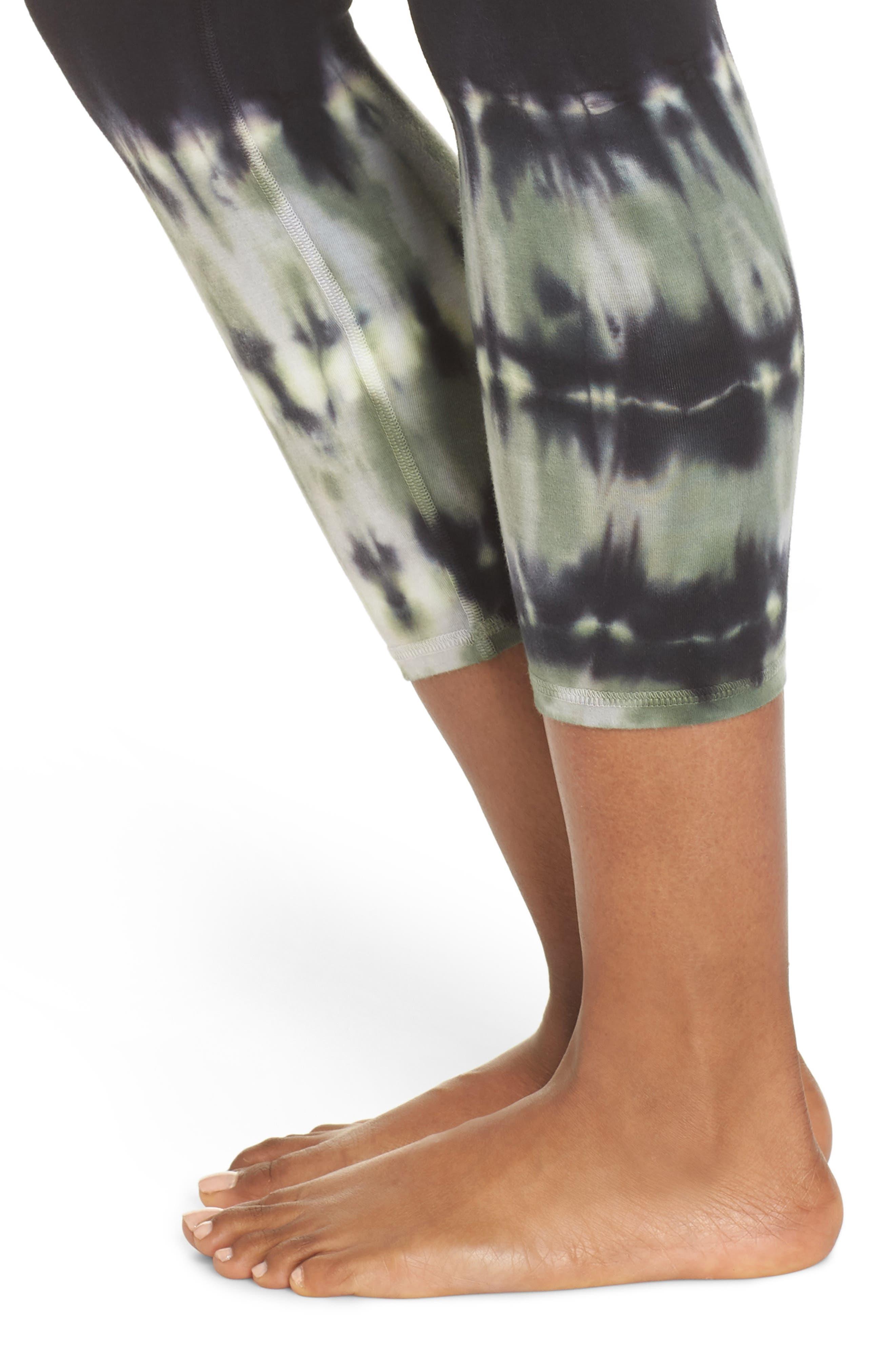 Sunrise Tie Dye Capri Leggings,                             Alternate thumbnail 4, color,                             STELLAR ONYX