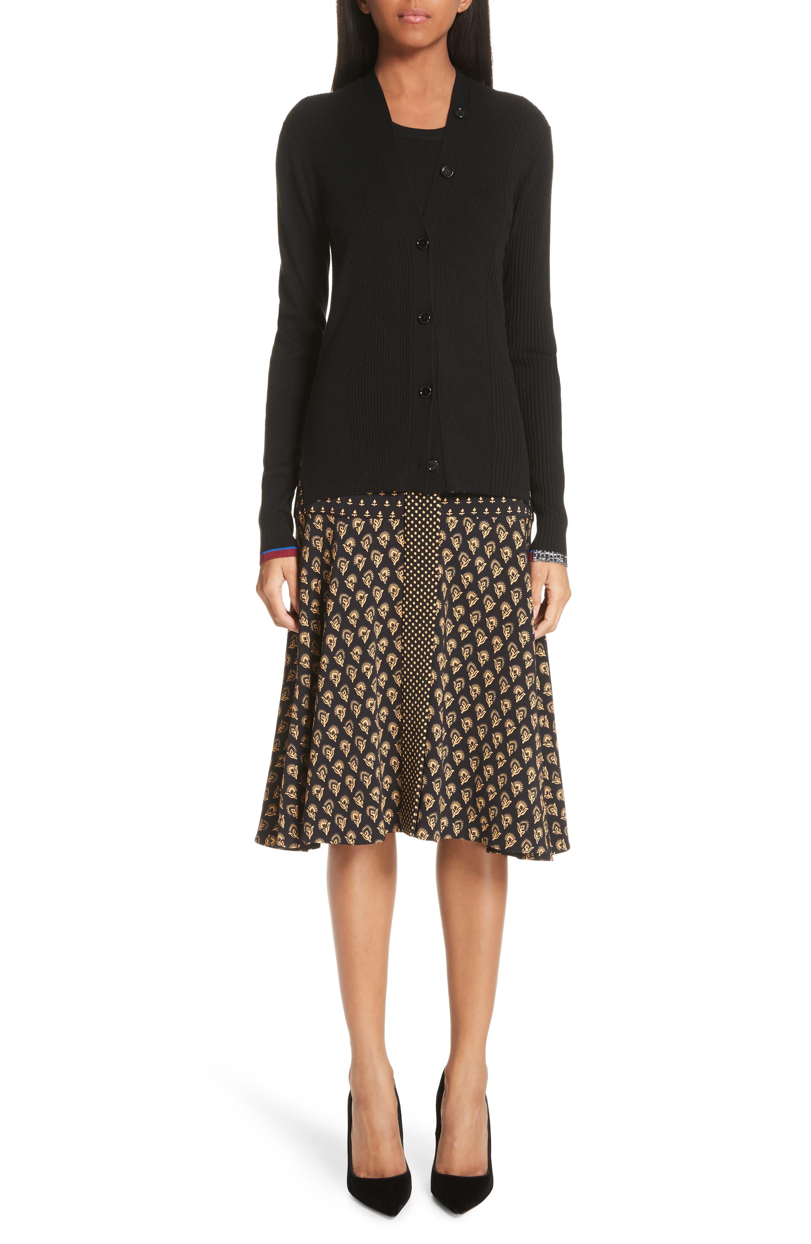 Mixed Print Crepe Midi Skirt,                             Alternate thumbnail 6, color,                             BLACK/ TAN FLOWER