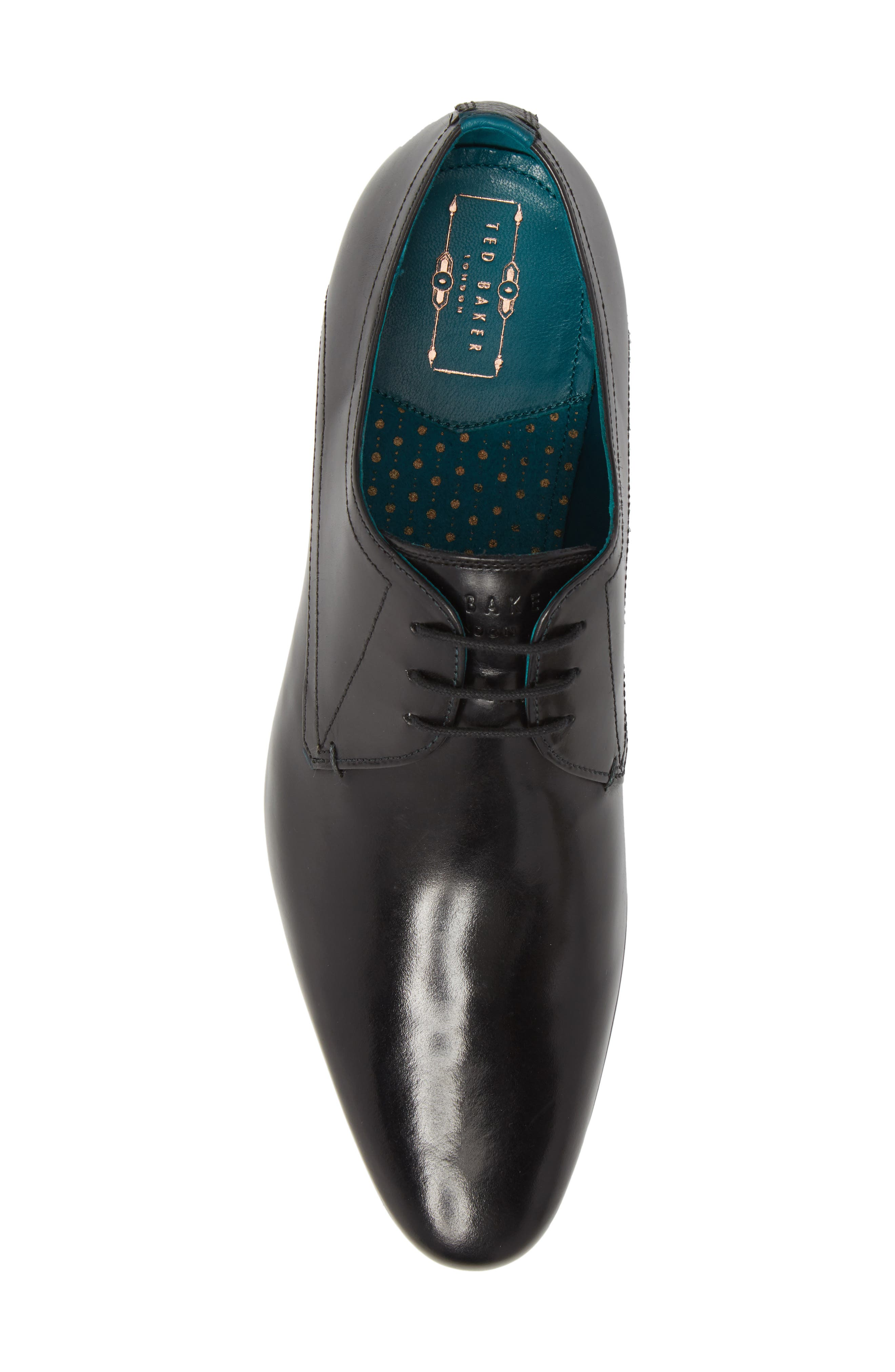 Bhartli Plain Toe Derby,                             Alternate thumbnail 5, color,                             BLACK LEATHER