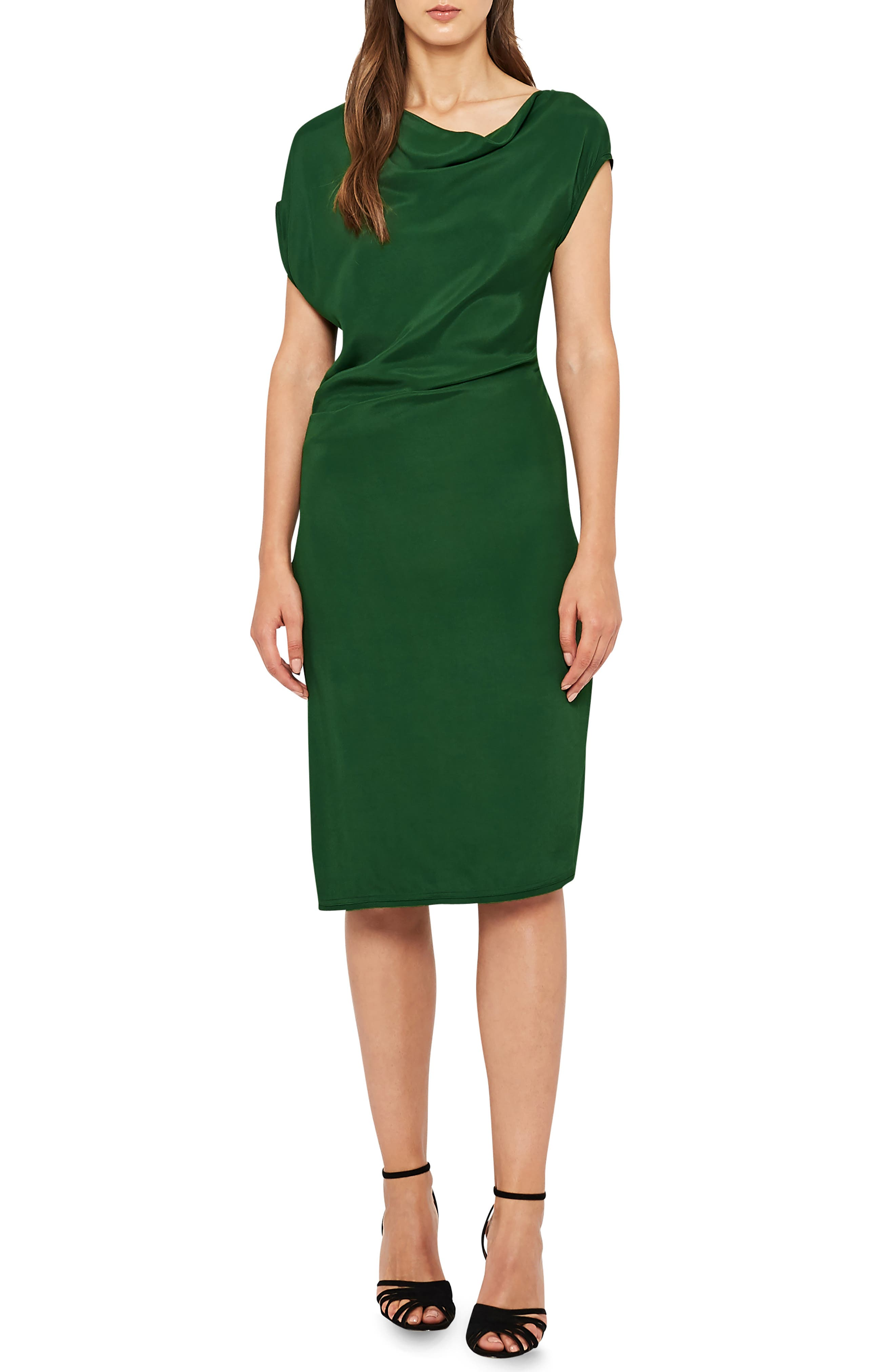 REISS Lore Asymmetrical Cap Sleeve Dress in Green