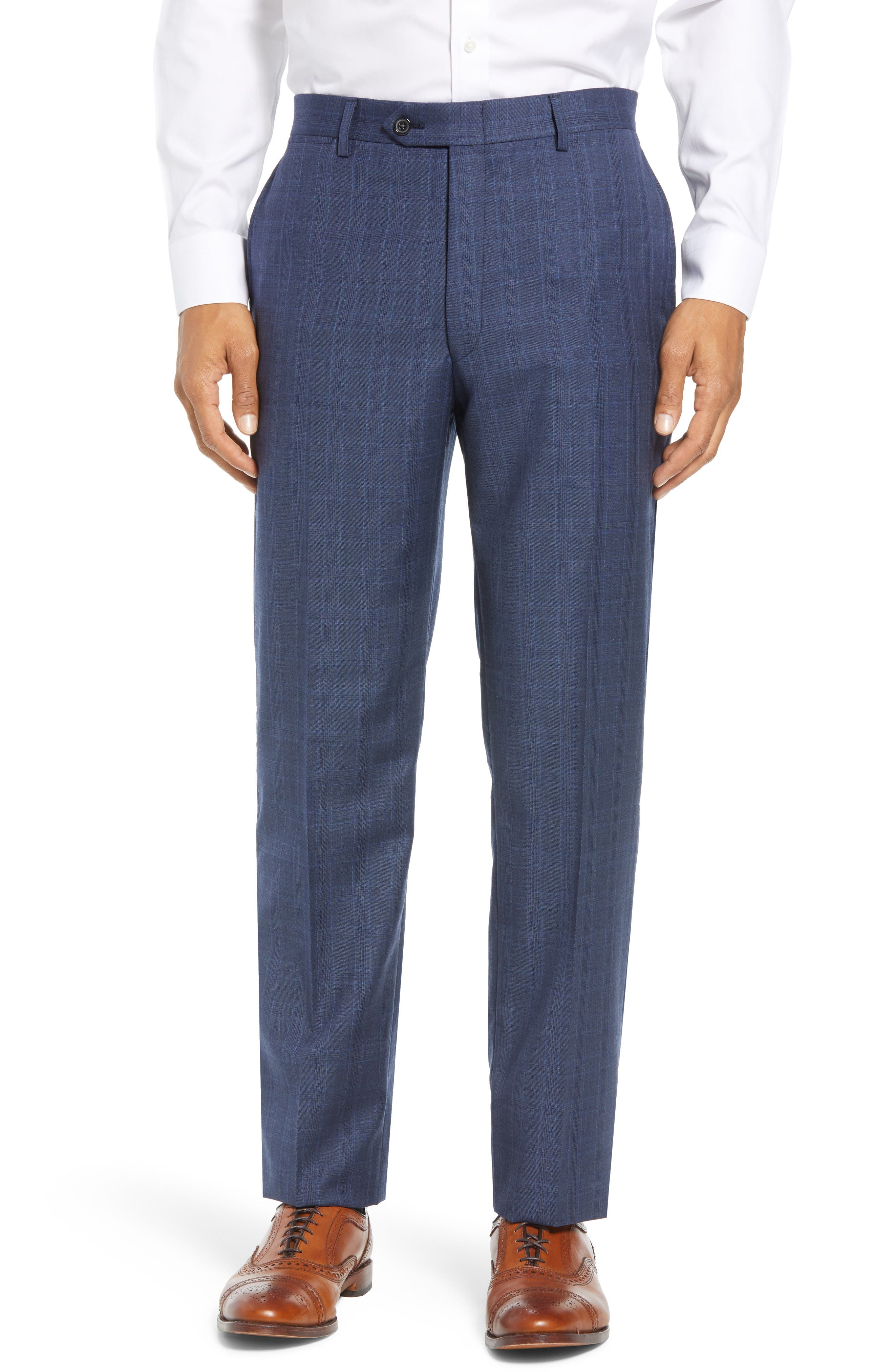 New York Classic Fit Plaid Wool Suit,                             Alternate thumbnail 6, color,                             MED BLUE