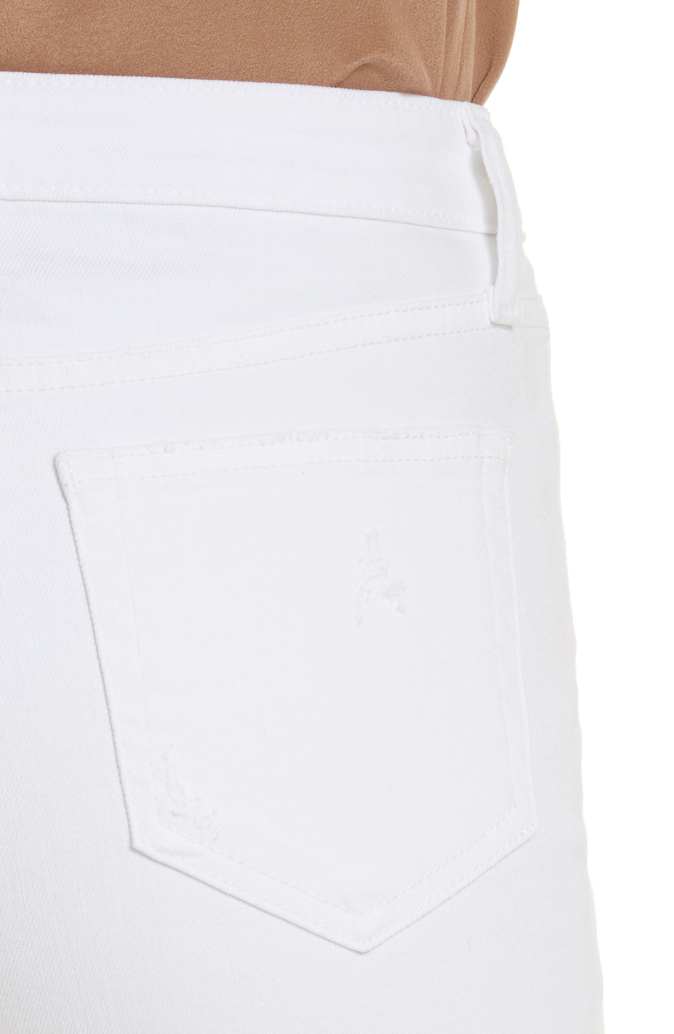 Audrina Ripped Straight Leg Crop Jeans,                             Alternate thumbnail 4, color,                             BLANC WORN DESTRUCT