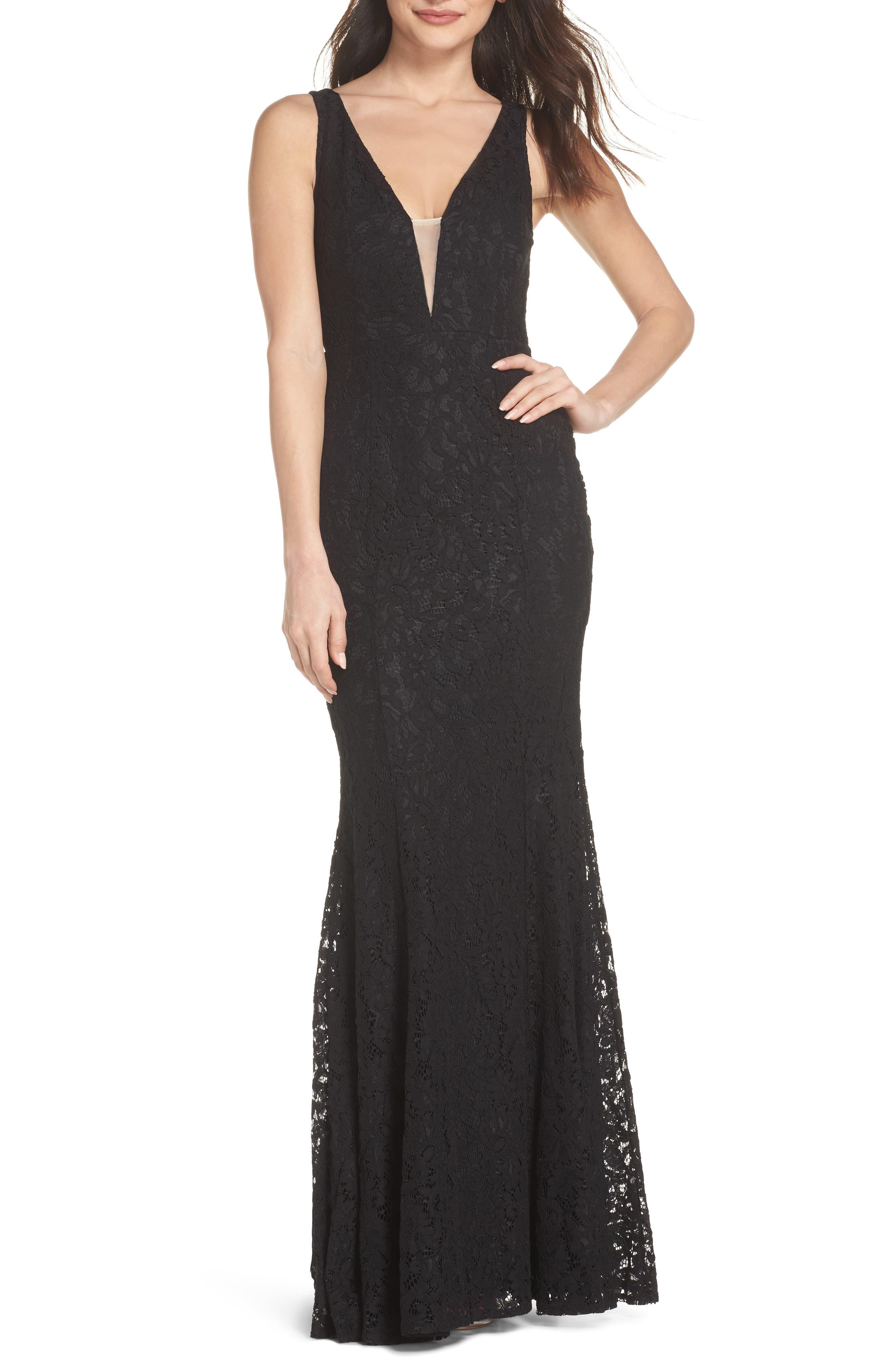 Plunging Neckline Lace Trumpet Gown,                         Main,                         color, 001