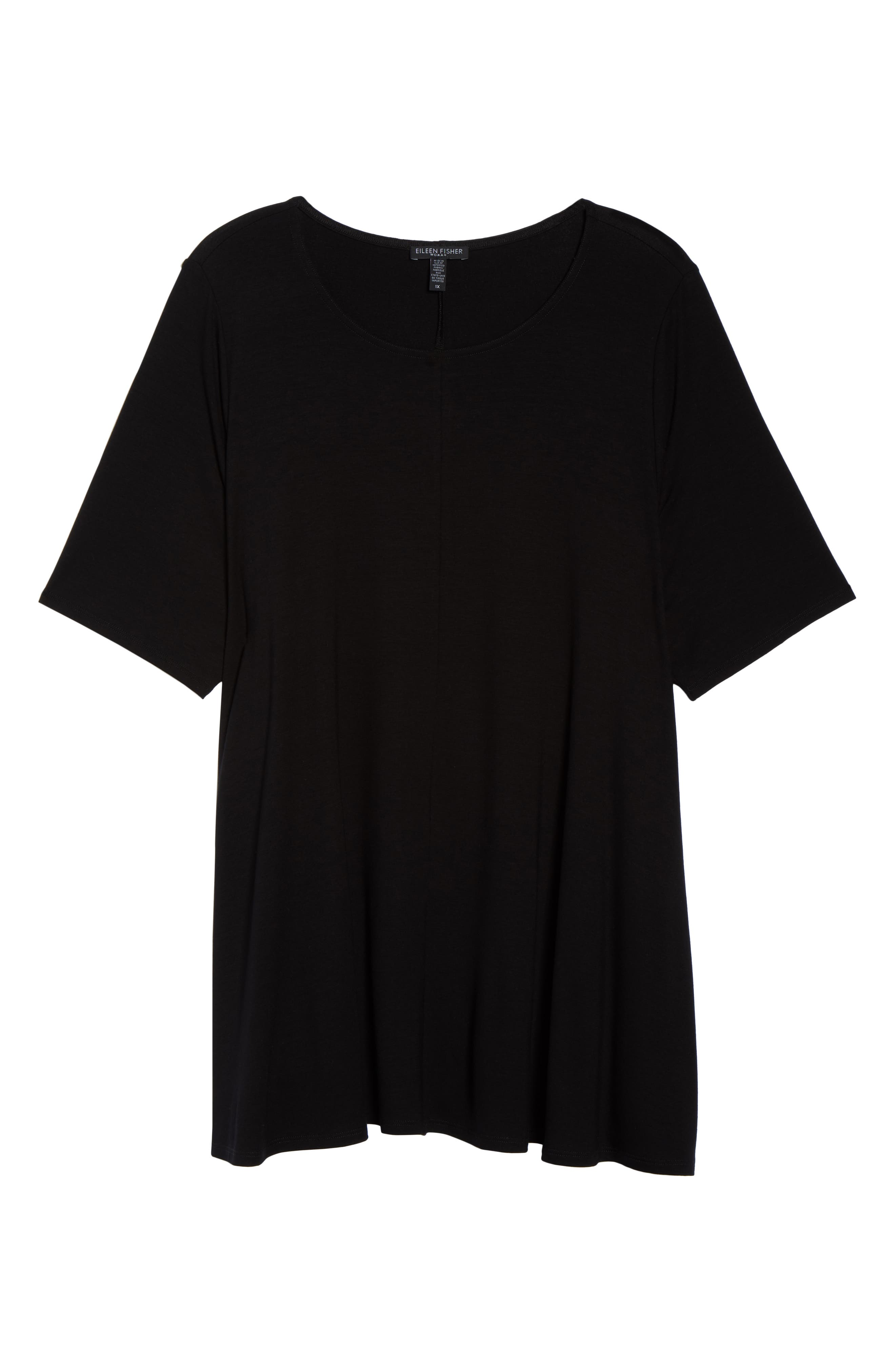 Jewel Neck Elbow Sleeve Tunic,                             Alternate thumbnail 7, color,                             BLACK