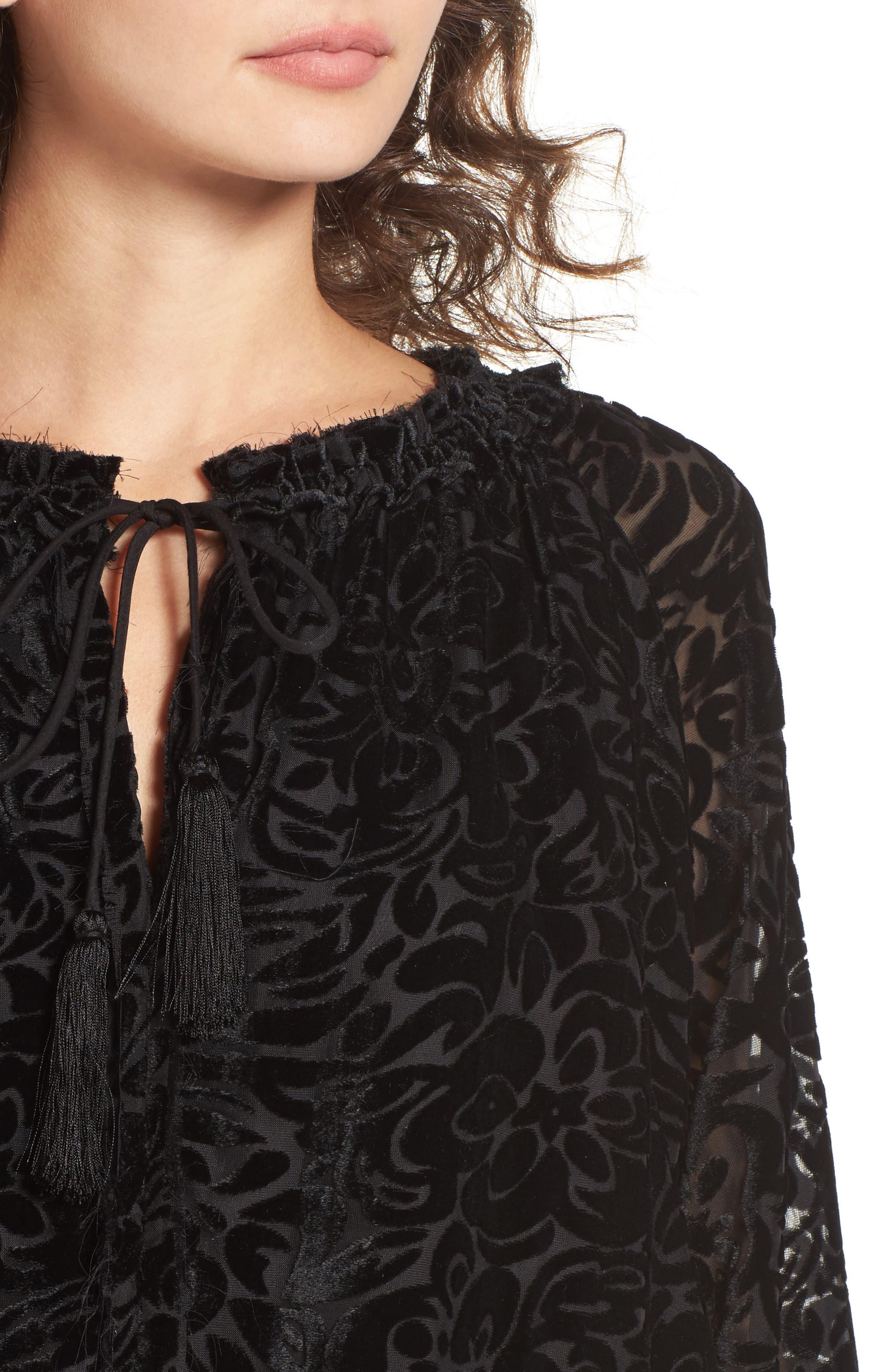 Ember Velvet Burnout Smocked Dress,                             Alternate thumbnail 4, color,                             001