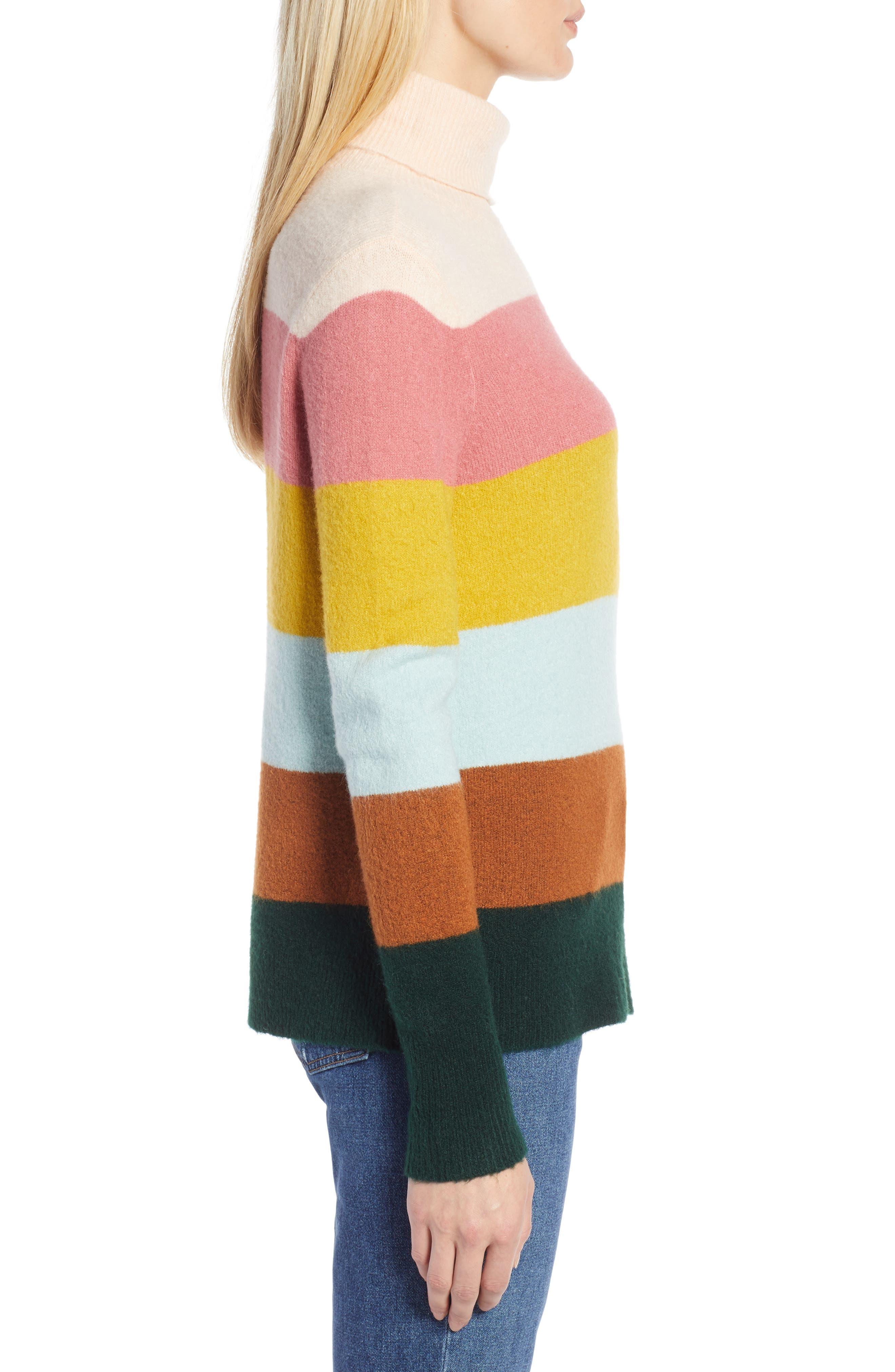 x Atlantic-Pacific Stripe Turtleneck Sweater,                             Alternate thumbnail 4, color,                             PINK MULTI STRIPE