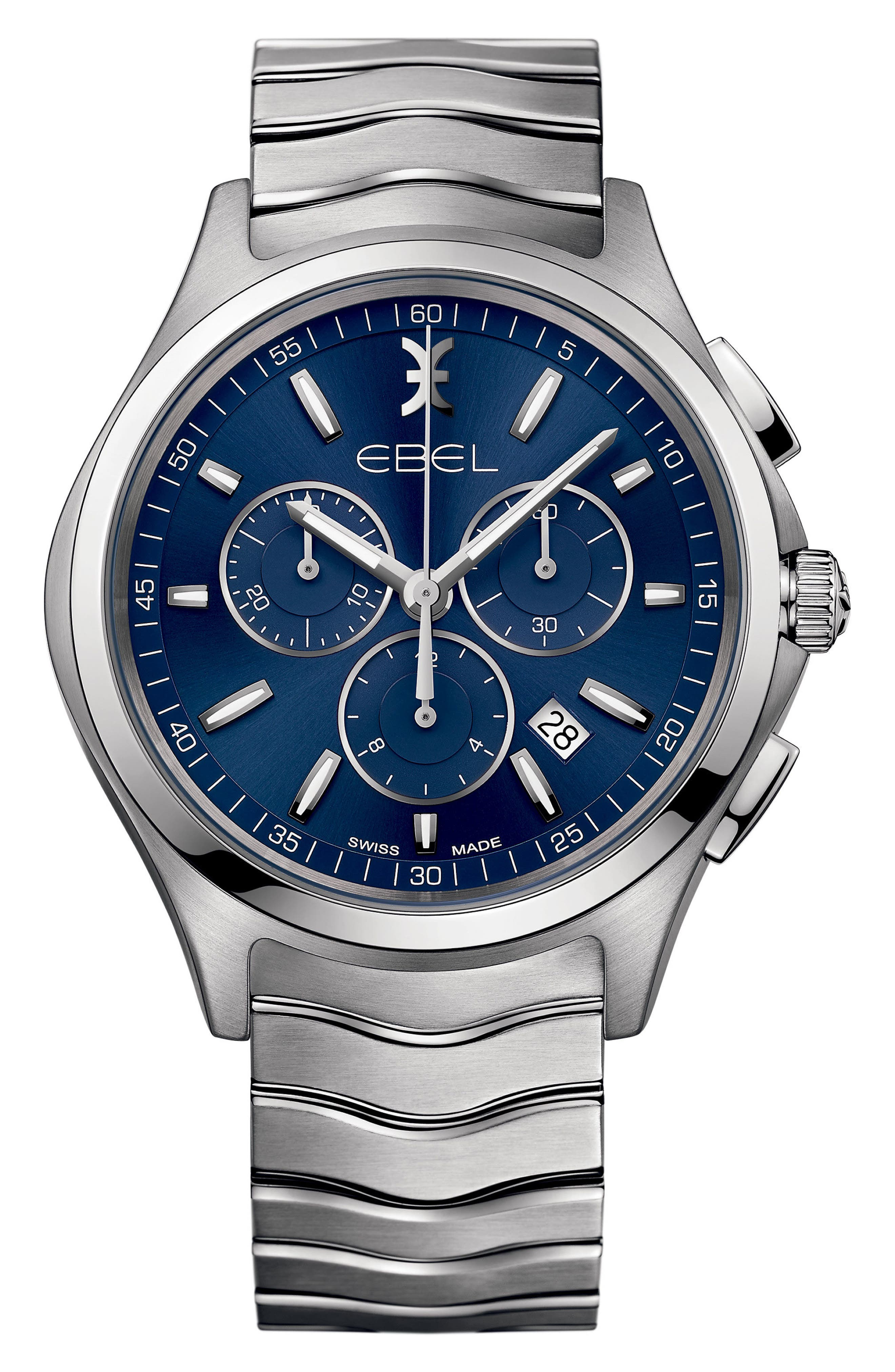 Wave Chronograph Bracelet Watch, 42mm,                         Main,                         color, SILVER/ BLUE/ SILVER