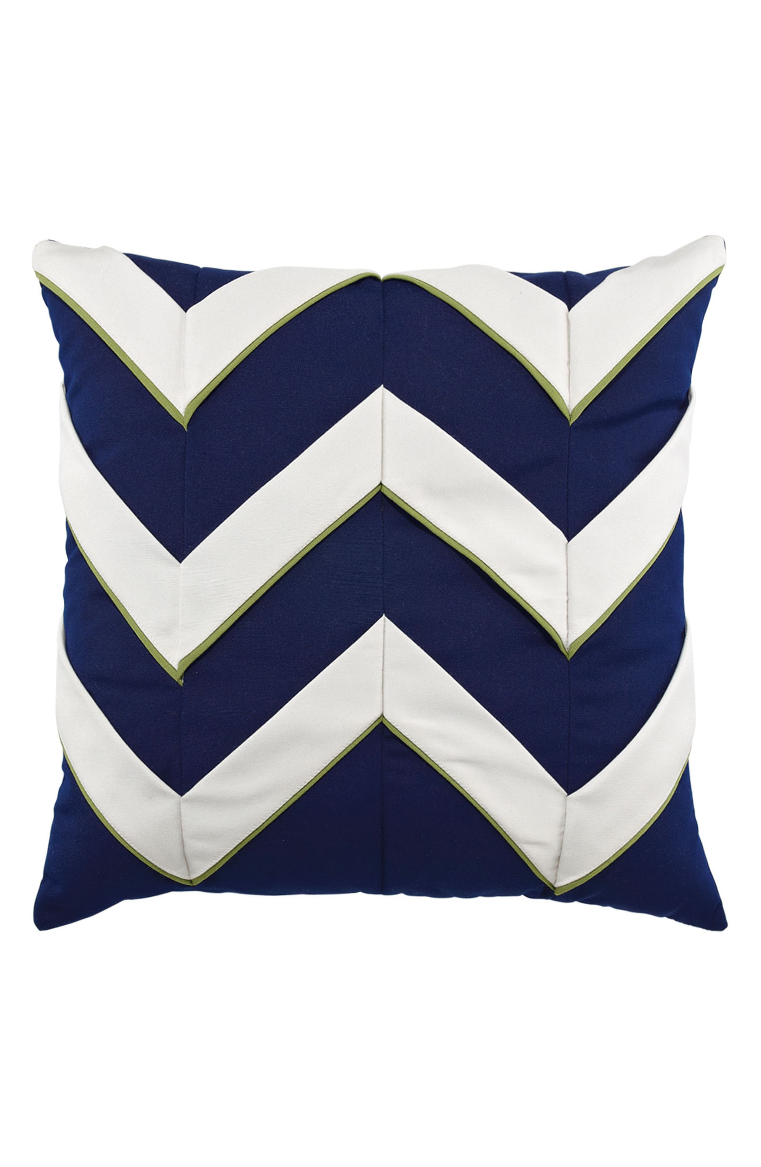 Navy Cruise Chevron Indoor/Outdoor Accent Pillow,                         Main,                         color, BLUE/ WHITE