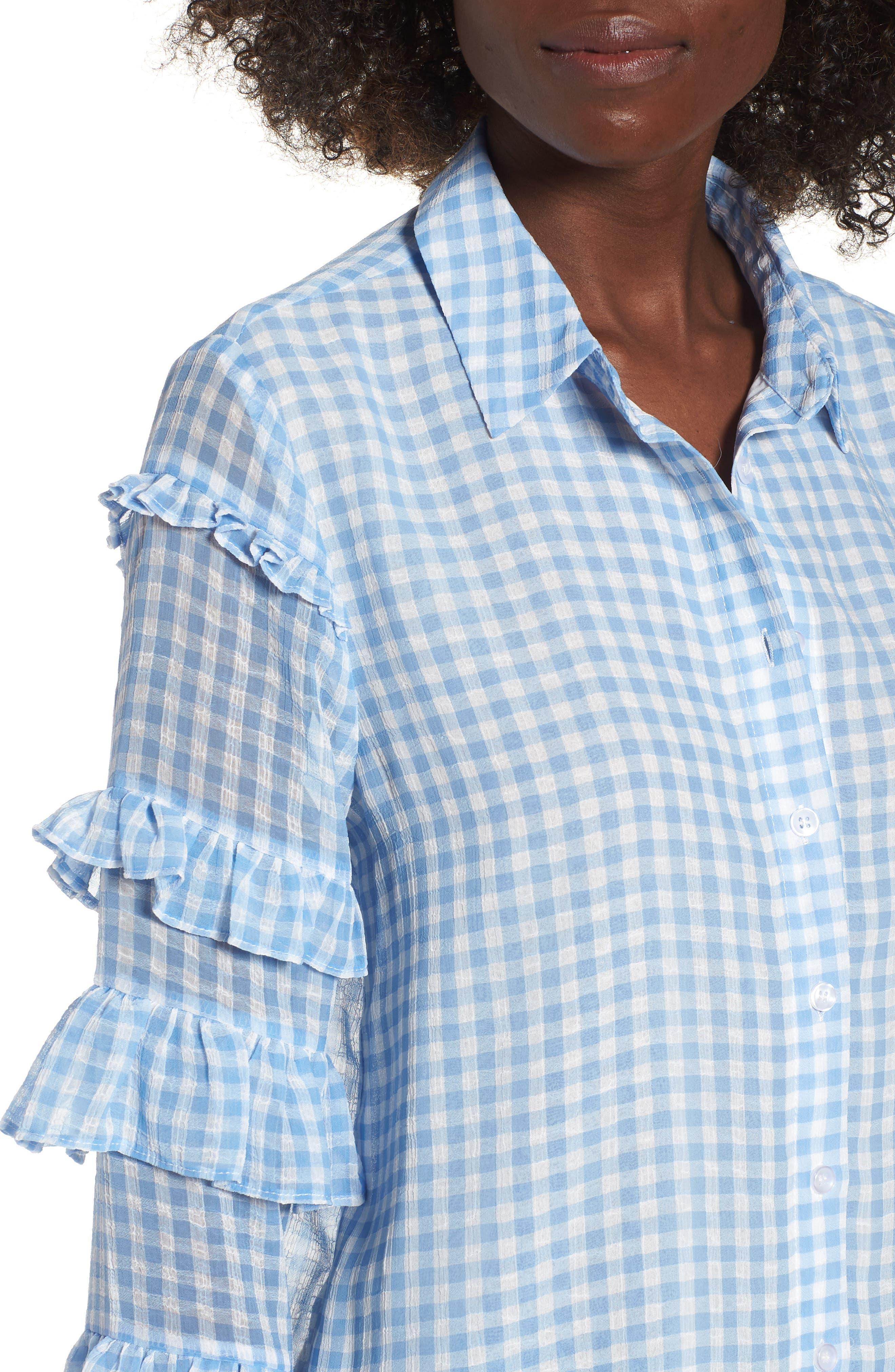 Ruffle Sleeve Shirt,                             Alternate thumbnail 4, color,                             400
