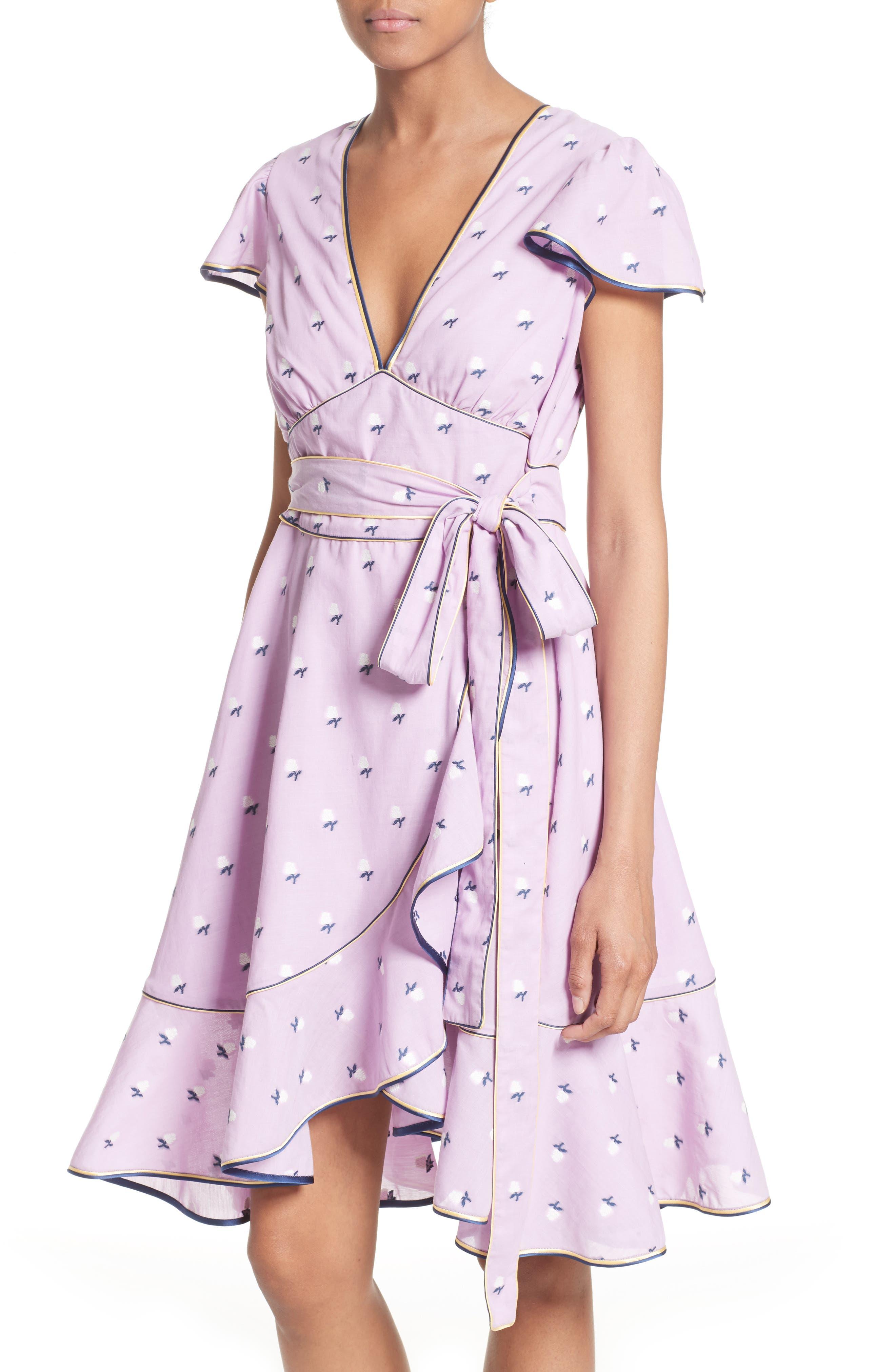 Ruffle Reverse Fil Coupé Dress,                             Alternate thumbnail 4, color,                             507