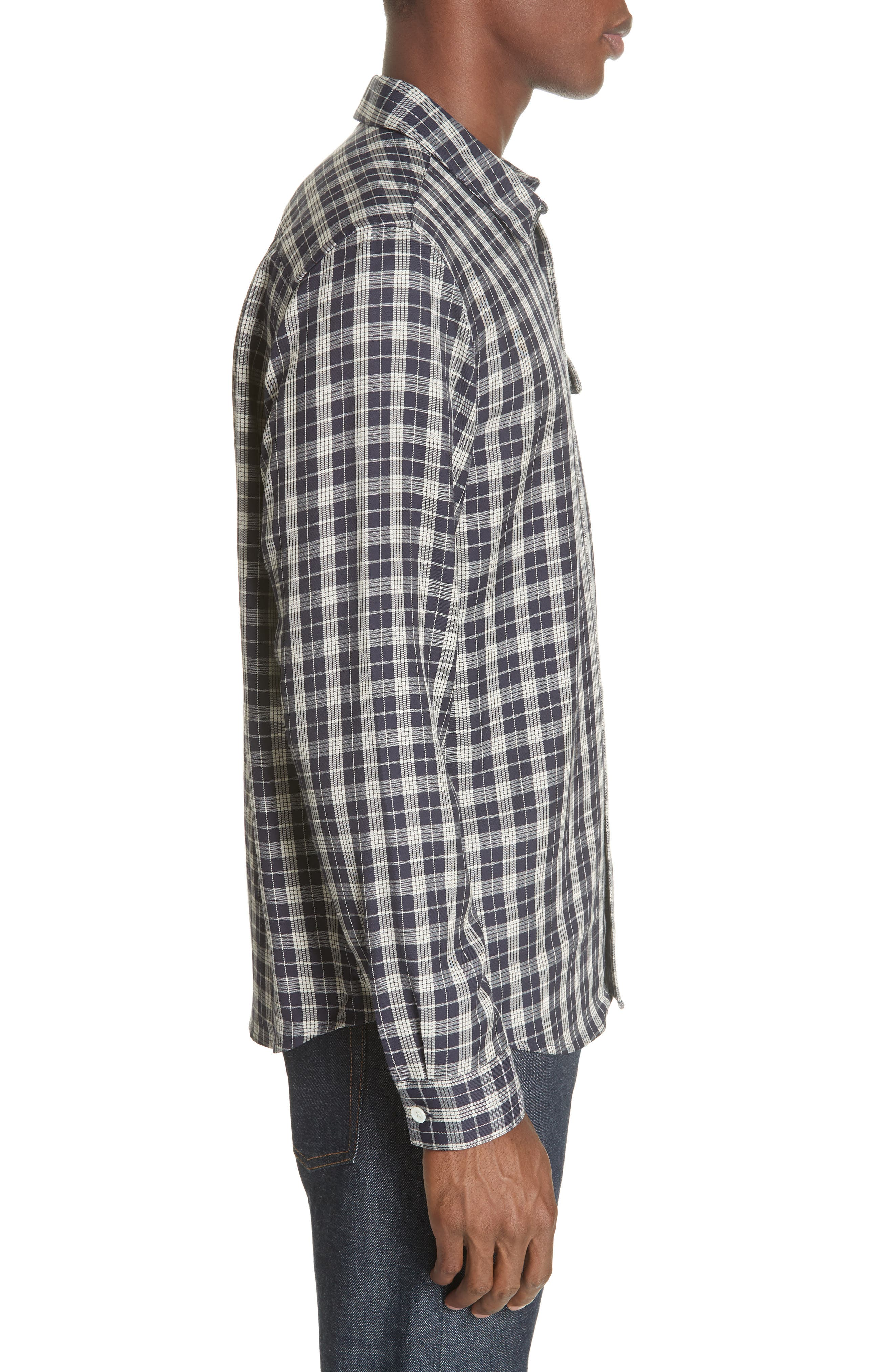 Check Woven Shirt,                             Alternate thumbnail 4, color,                             IAK NAVY