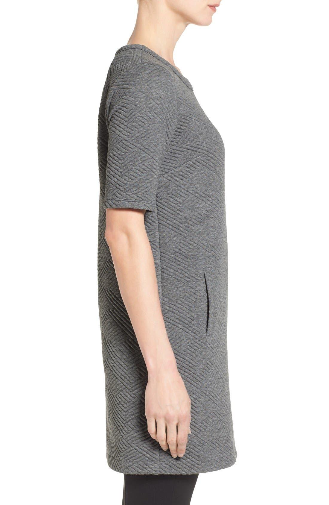 Textured Elbow Sleeve Tunic Dress,                             Alternate thumbnail 9, color,                             030
