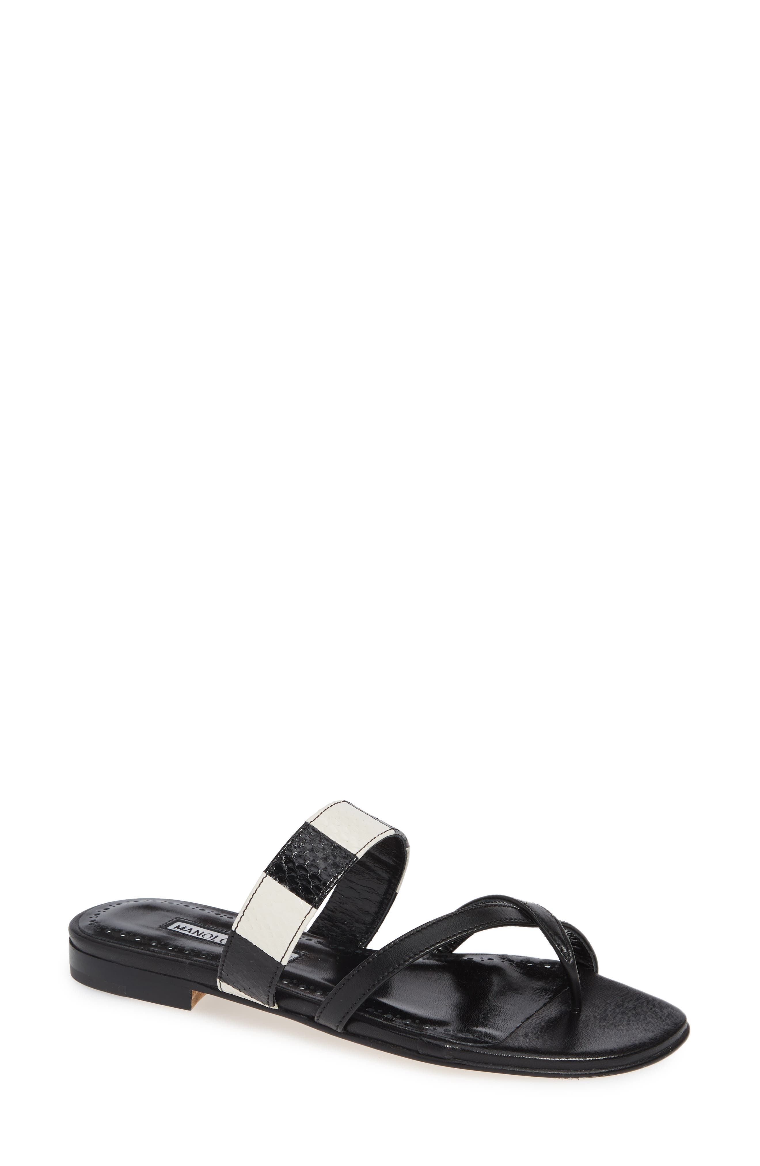 MANOLO BLAHNIK Susa Genuine Snakeskin Sandal, Main, color, BLACK/ WHITE LEATHER